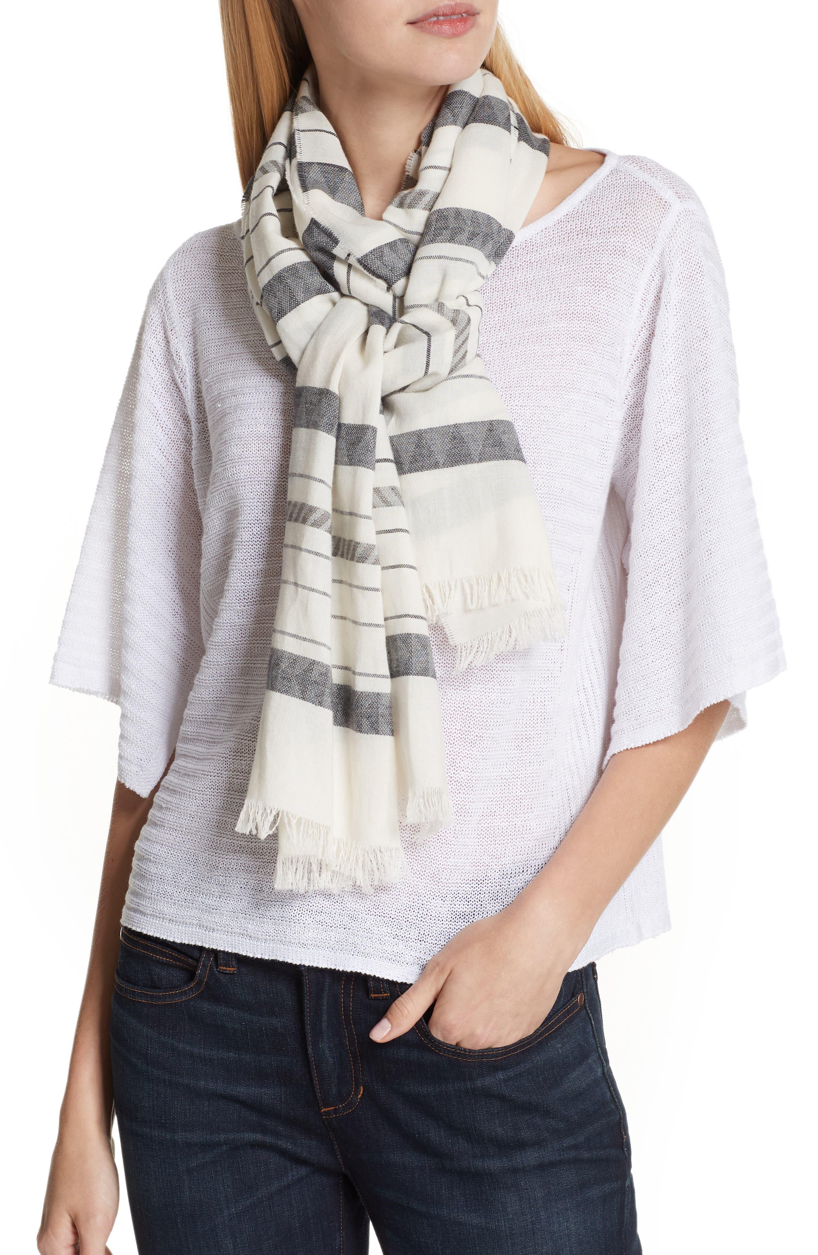 Stripe Organic Cotton & Linen Scarf,                             Alternate thumbnail 2, color,                             White