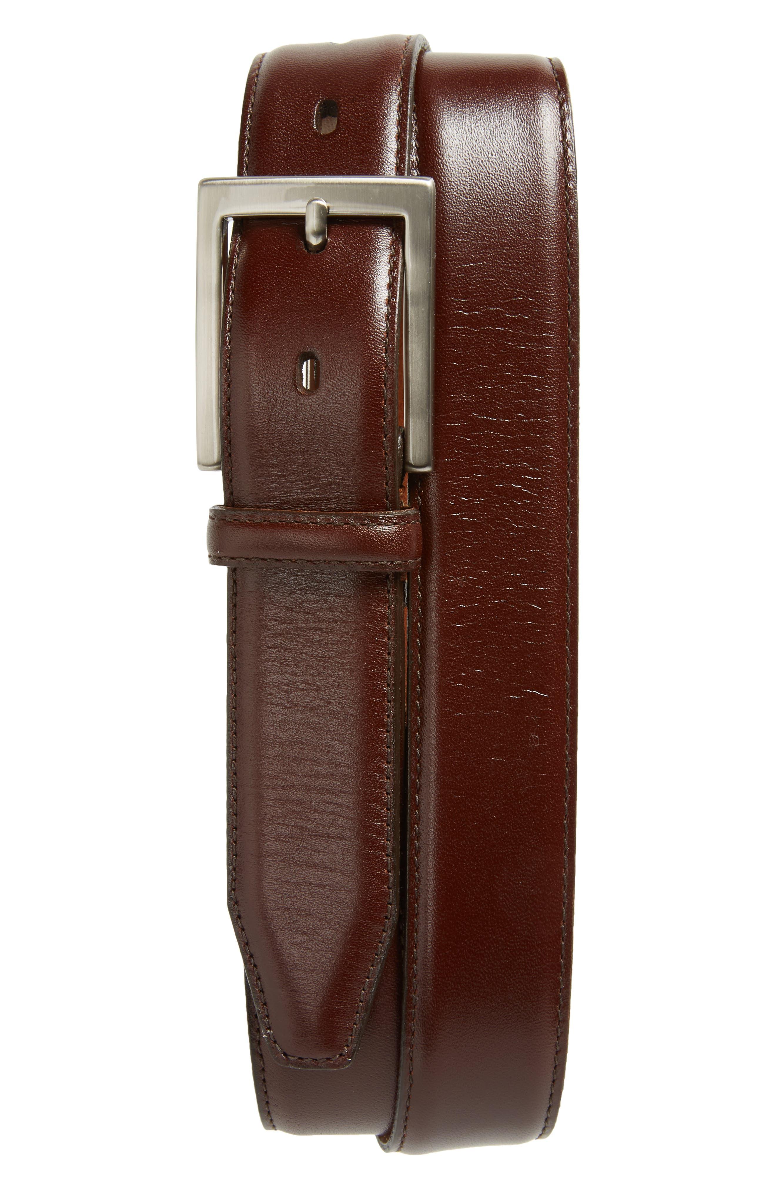 Calfskin Belt,                             Main thumbnail 1, color,                             Brown