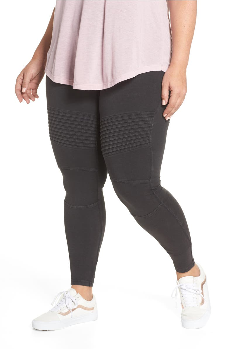 Washed Moto Leggings, Main, color, Black