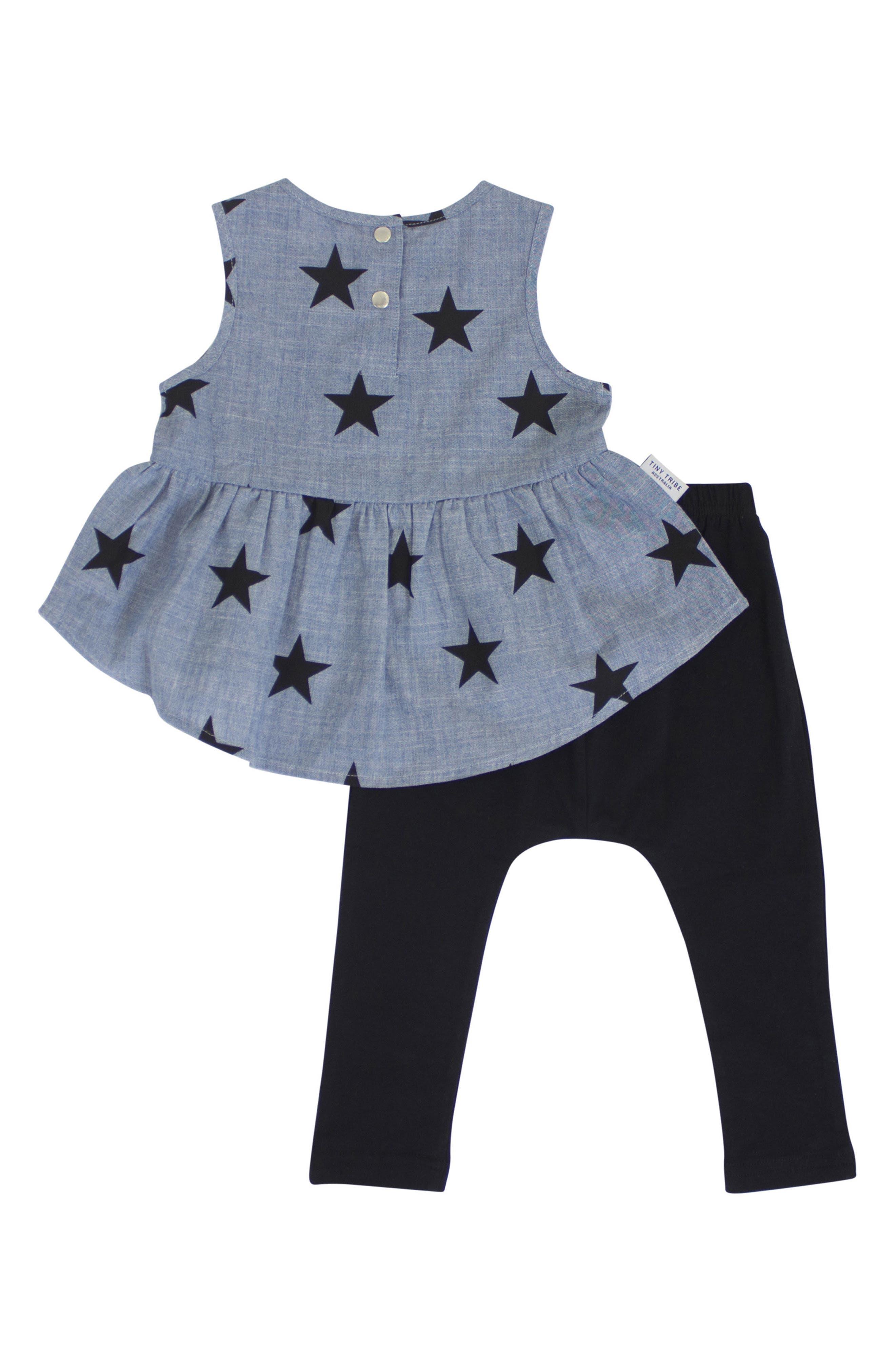 Chambray Star & Legging Set,                             Alternate thumbnail 2, color,                             Chambray/ Black