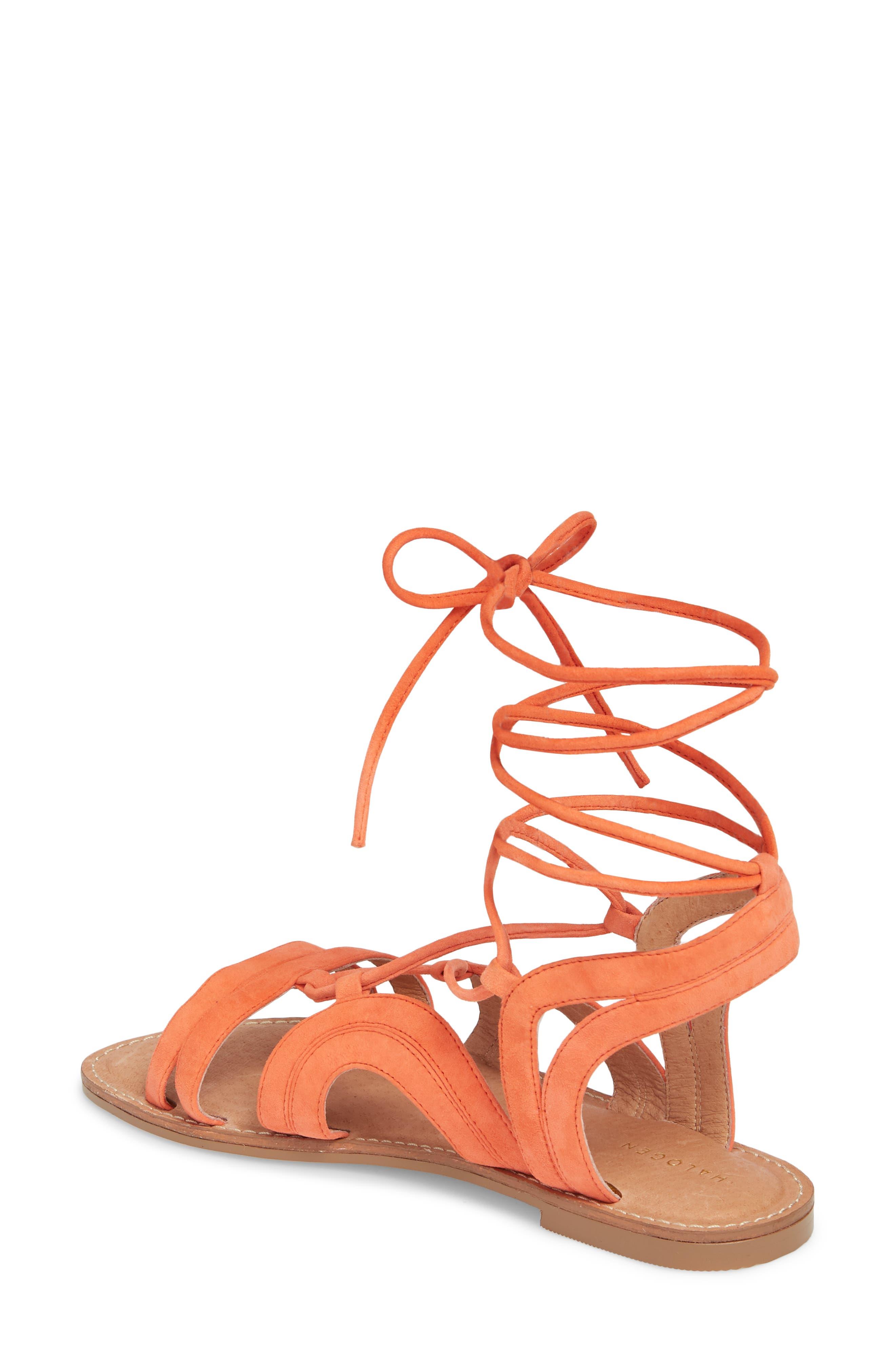 Lilian Gladiator Sandal,                             Alternate thumbnail 2, color,                             Orange Suede
