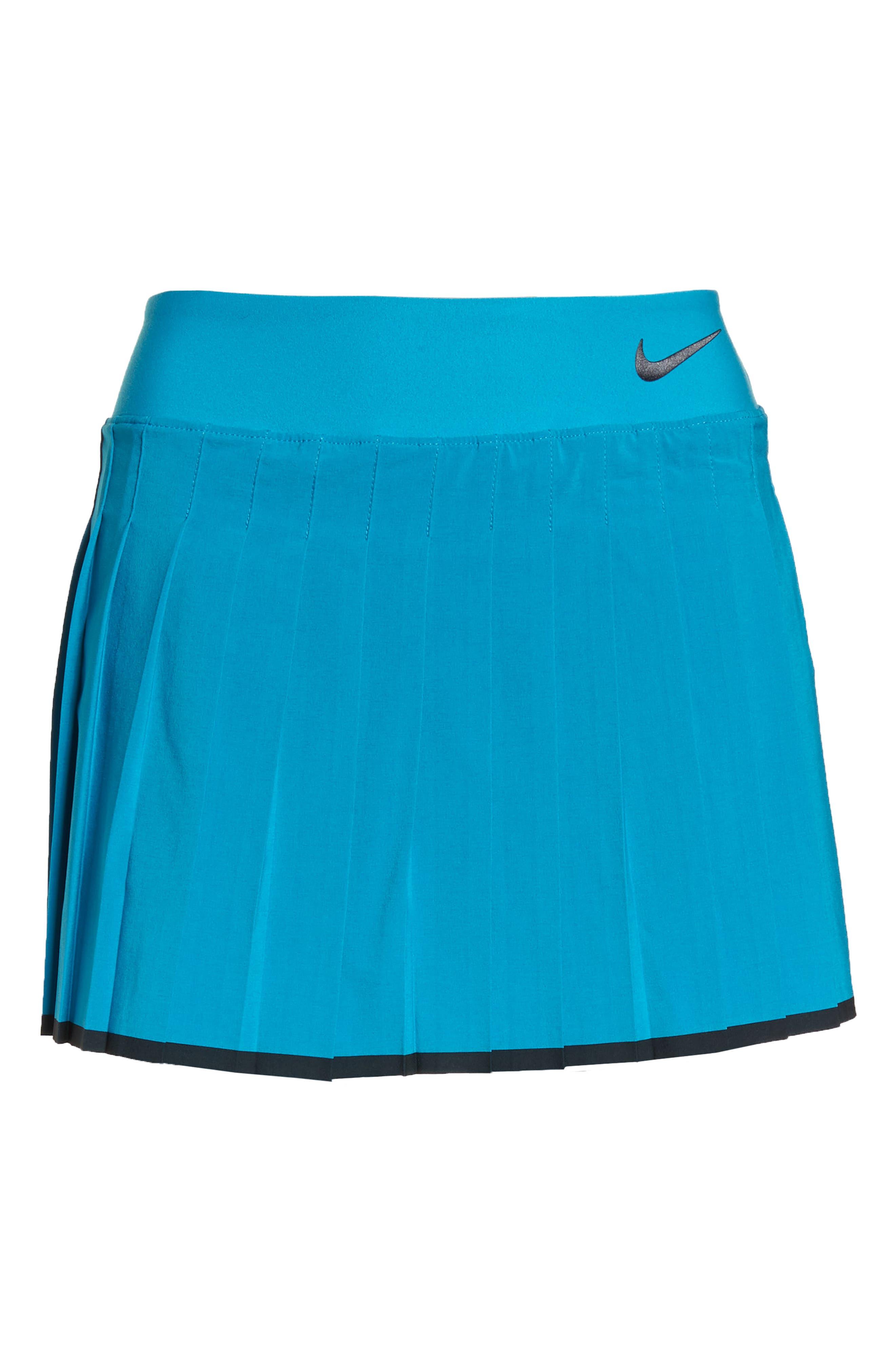 'Victory' Pleat Dri-FIT Tennis Skirt,                             Alternate thumbnail 7, color,                             Neo Turquoise/ Black