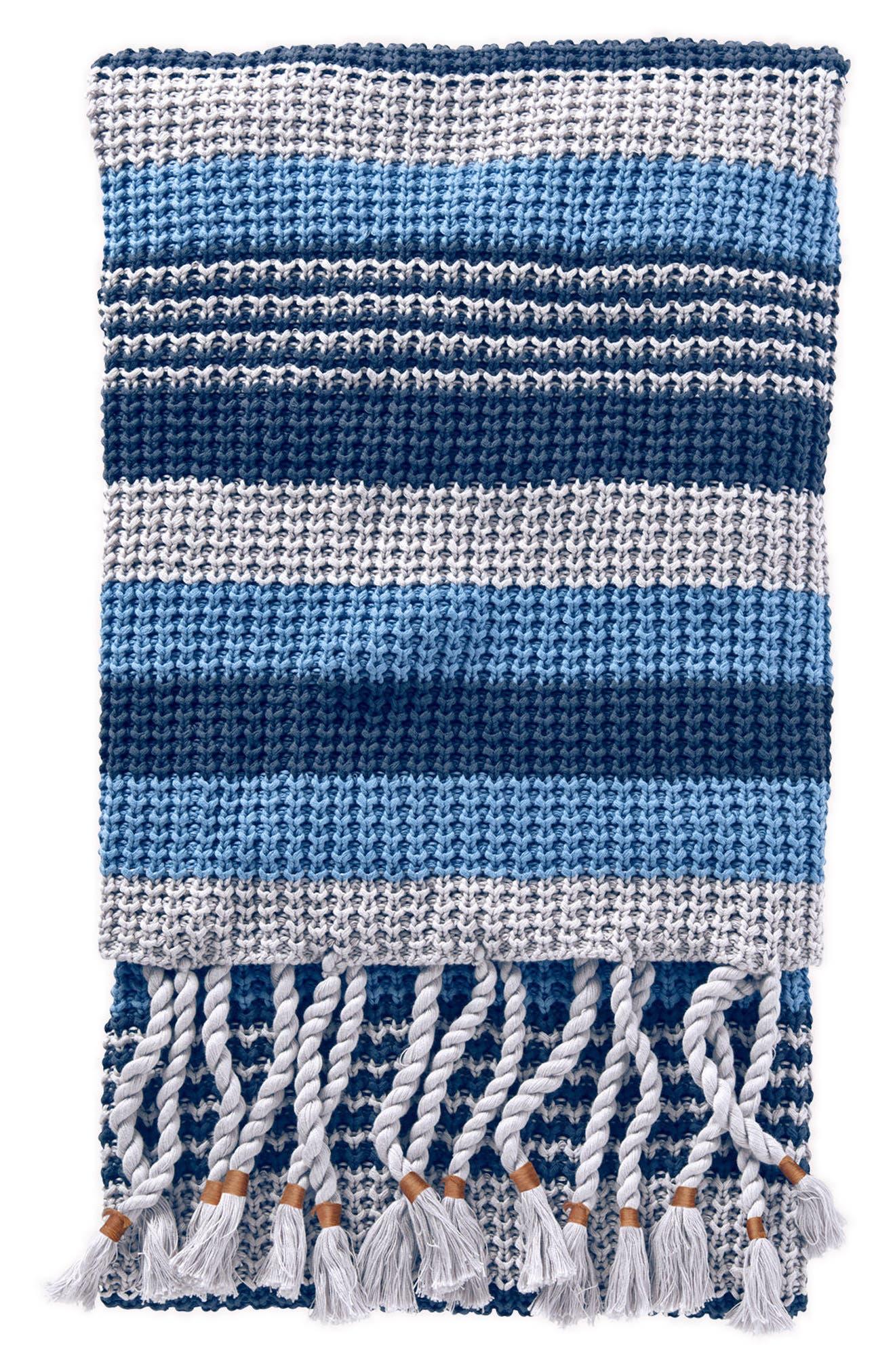 Horizon Stripe Knit Throw,                         Main,                         color, Blue Multi