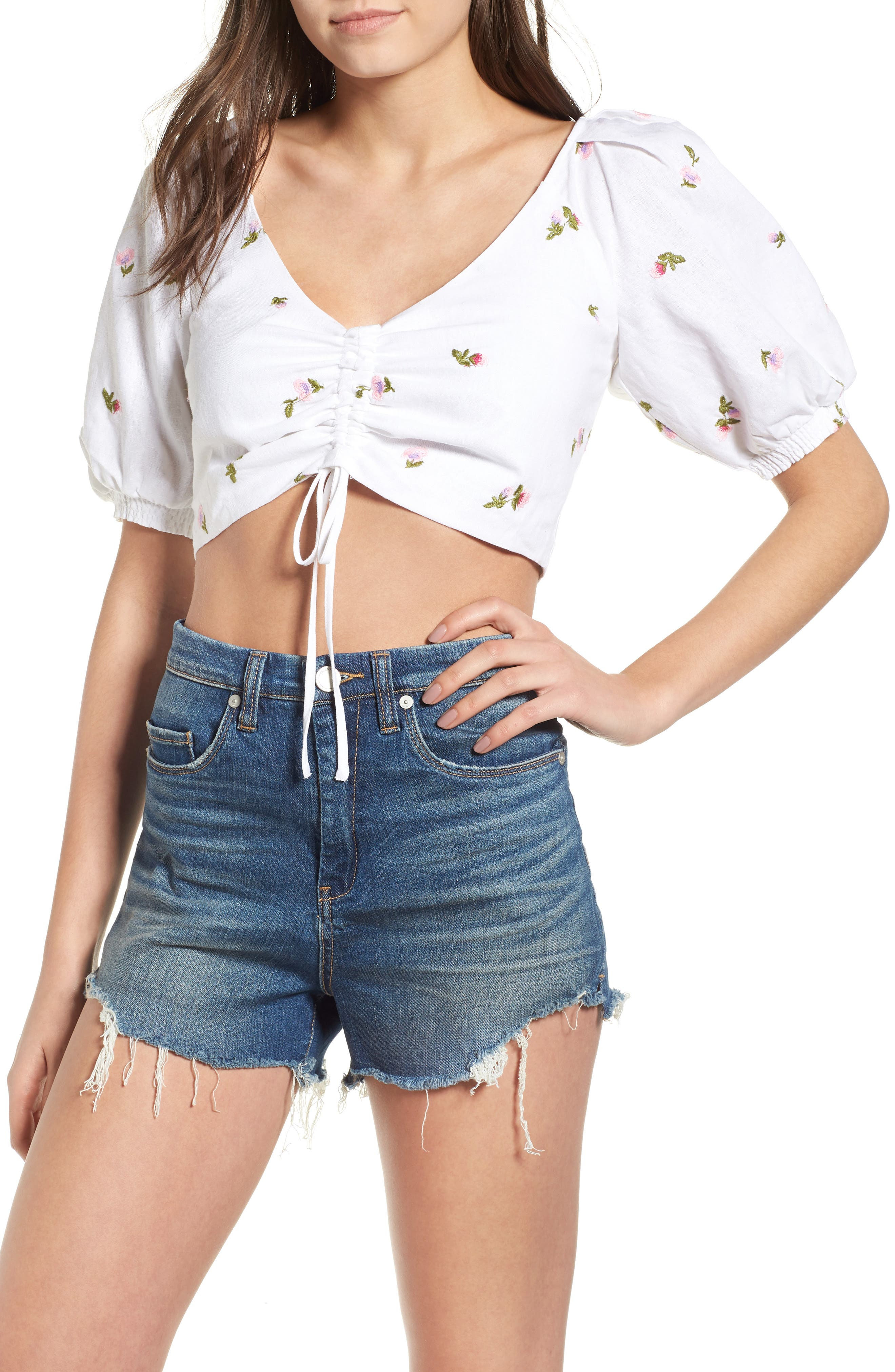 Rodeo Crop Top,                             Main thumbnail 1, color,                             Ditsy Embroidery
