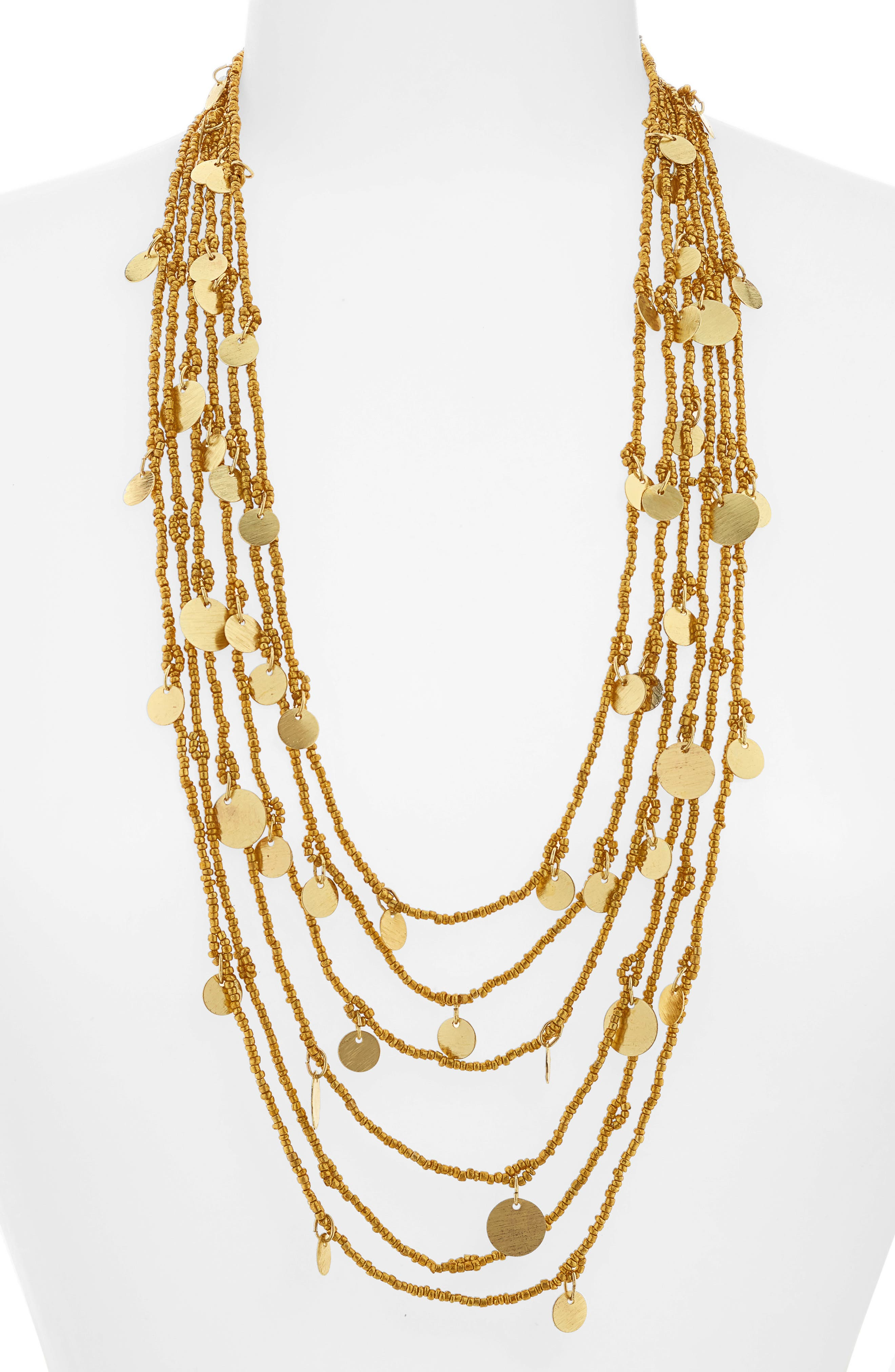 Caryn Multistrand Necklace,                         Main,                         color, Gold