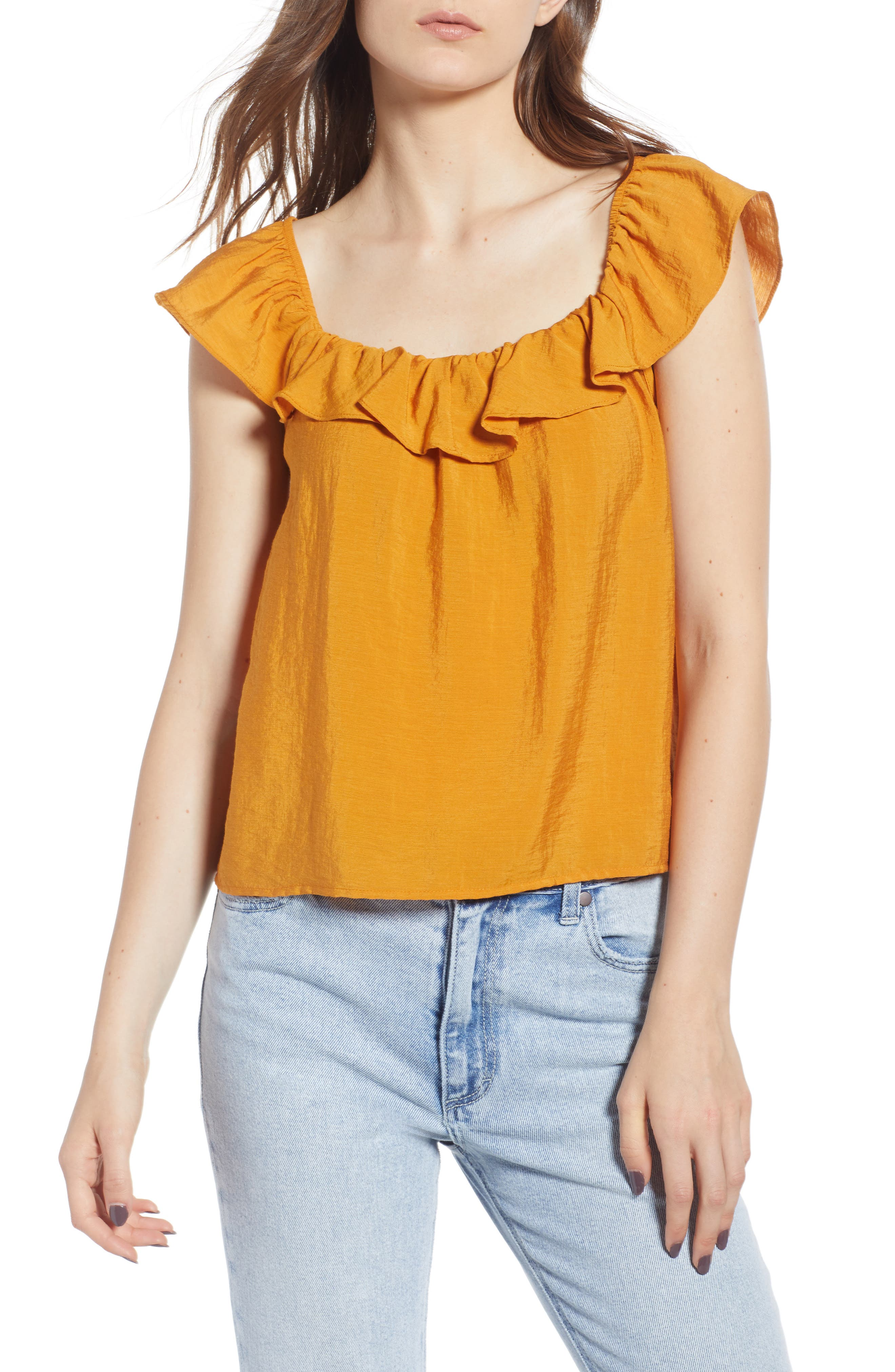 Ruffle Trim Top,                         Main,                         color, Yellow Spruce