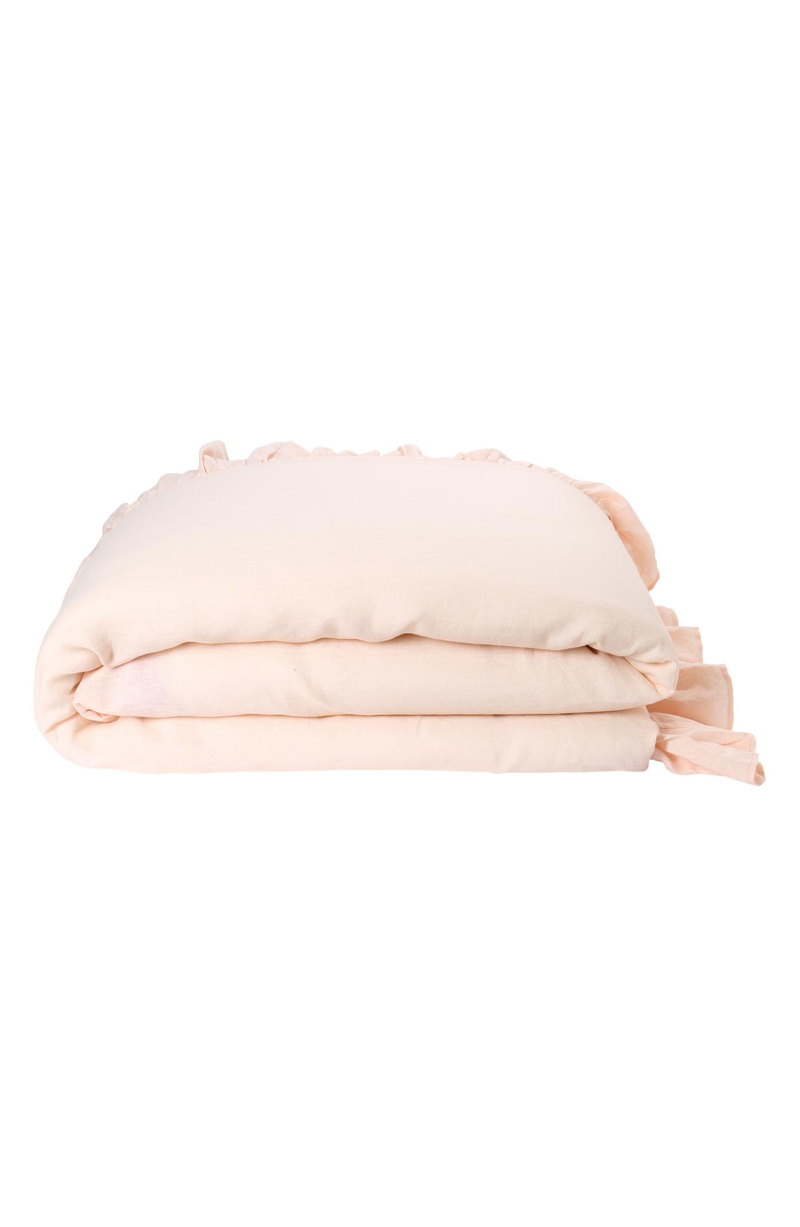 Ruffle Reversible Linen Comforter,                             Alternate thumbnail 2, color,                             Multi