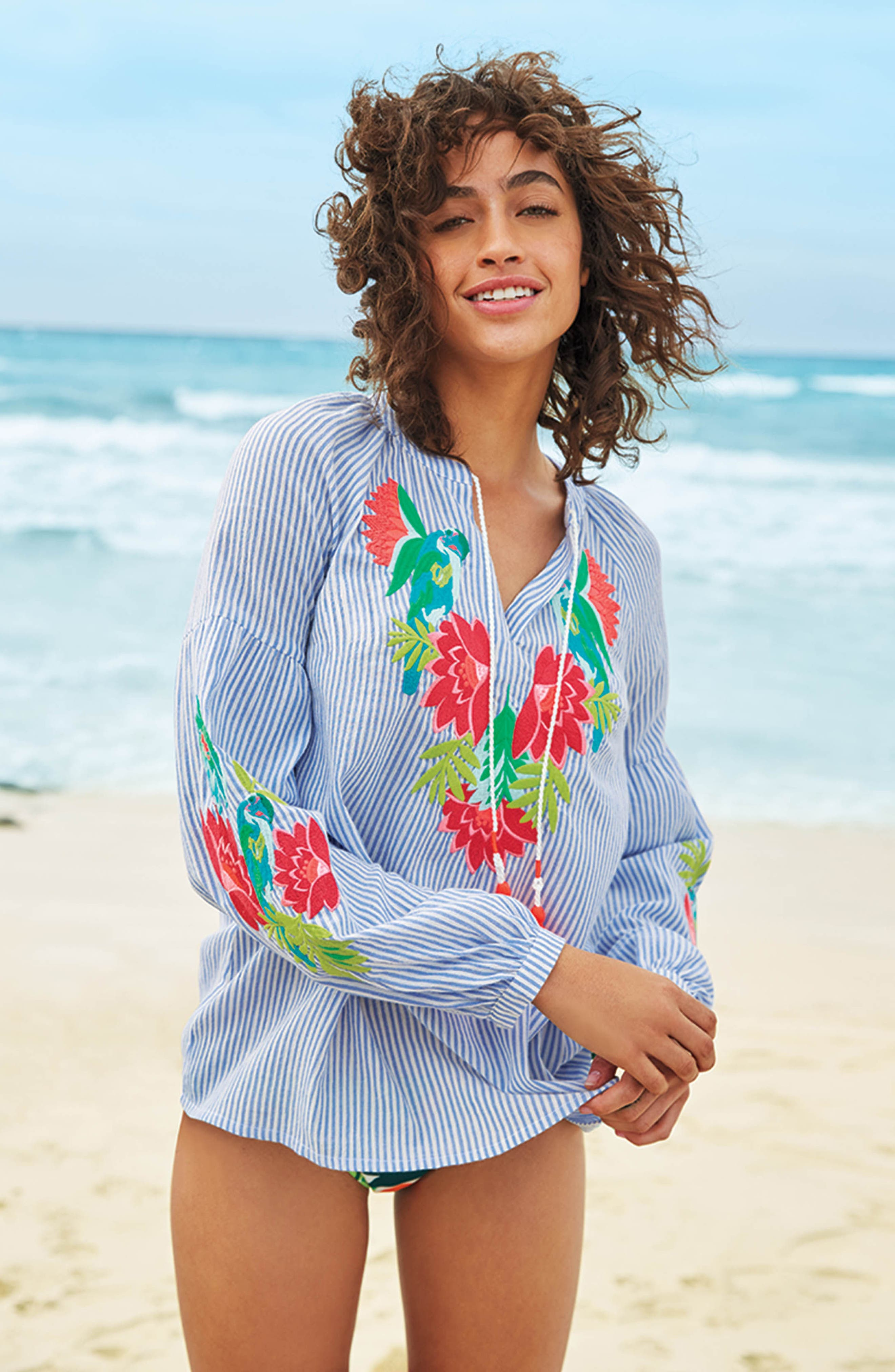 Embroidered Tassel Top,                             Alternate thumbnail 5, color,                             Floral Parrot Embroi