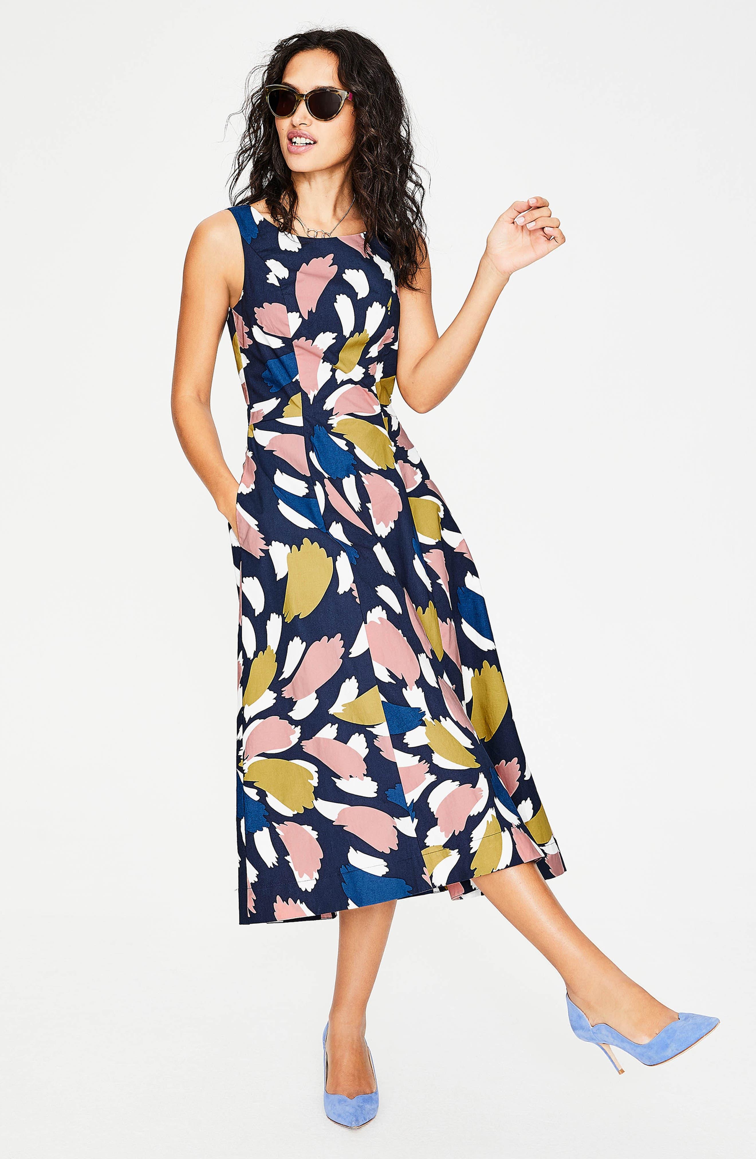 Elena Fit & Flare Cotton Dress,                             Alternate thumbnail 4, color,                             Navy Brush Stroke