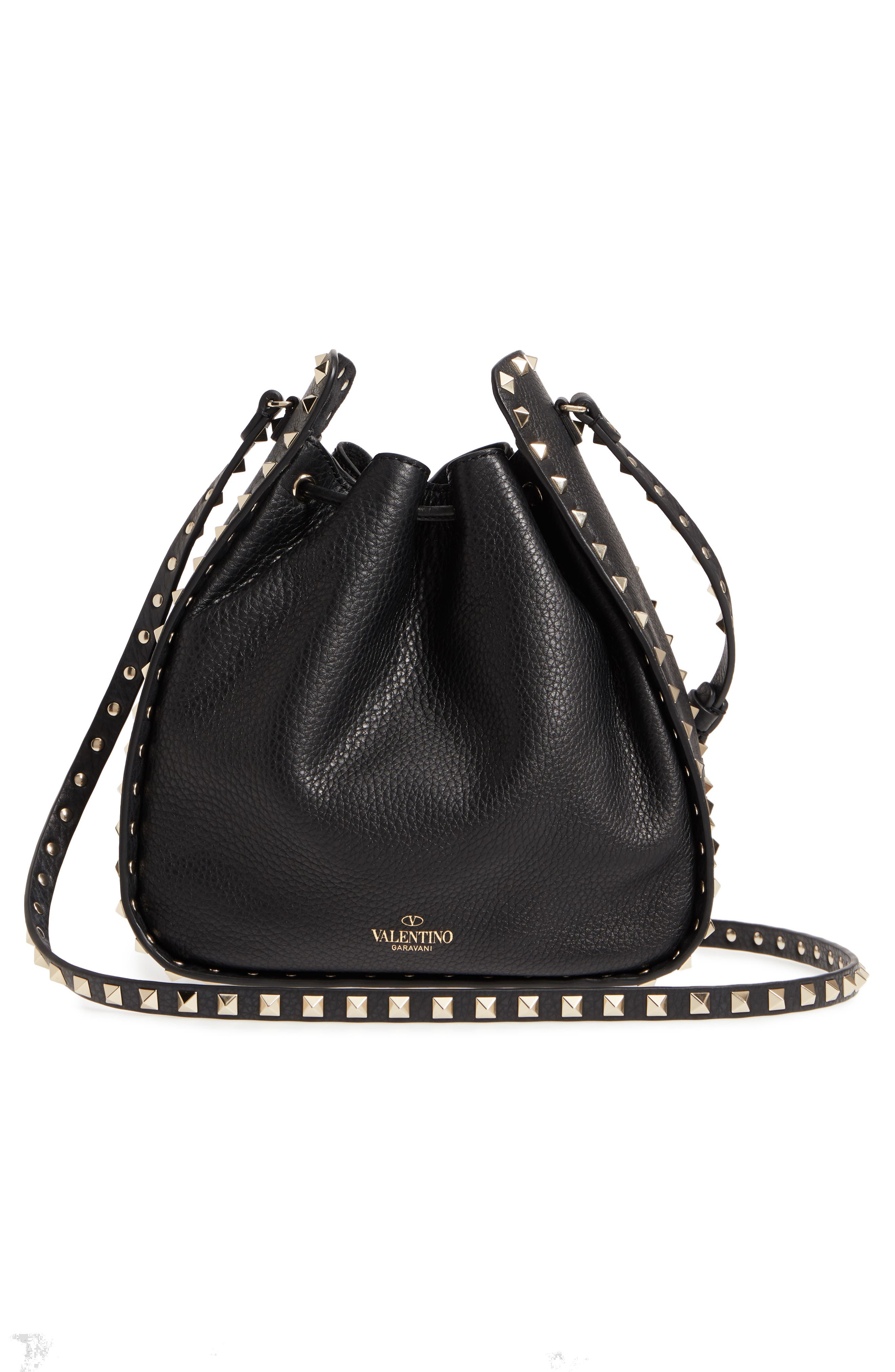 Large Rockstud Leather Bucket Bag,                             Alternate thumbnail 3, color,                             Black/ Gold