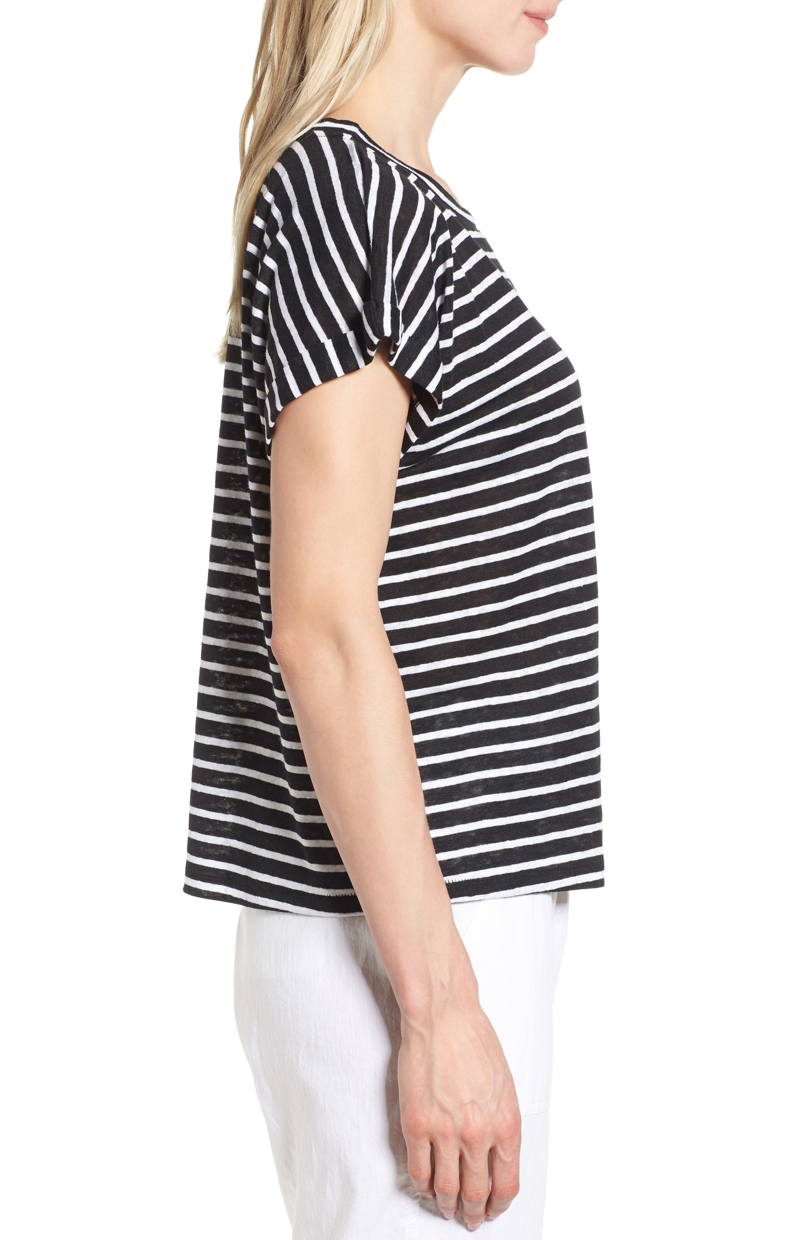 Stripe Boxy Organic Linen Top,                             Alternate thumbnail 3, color,                             Black/ White