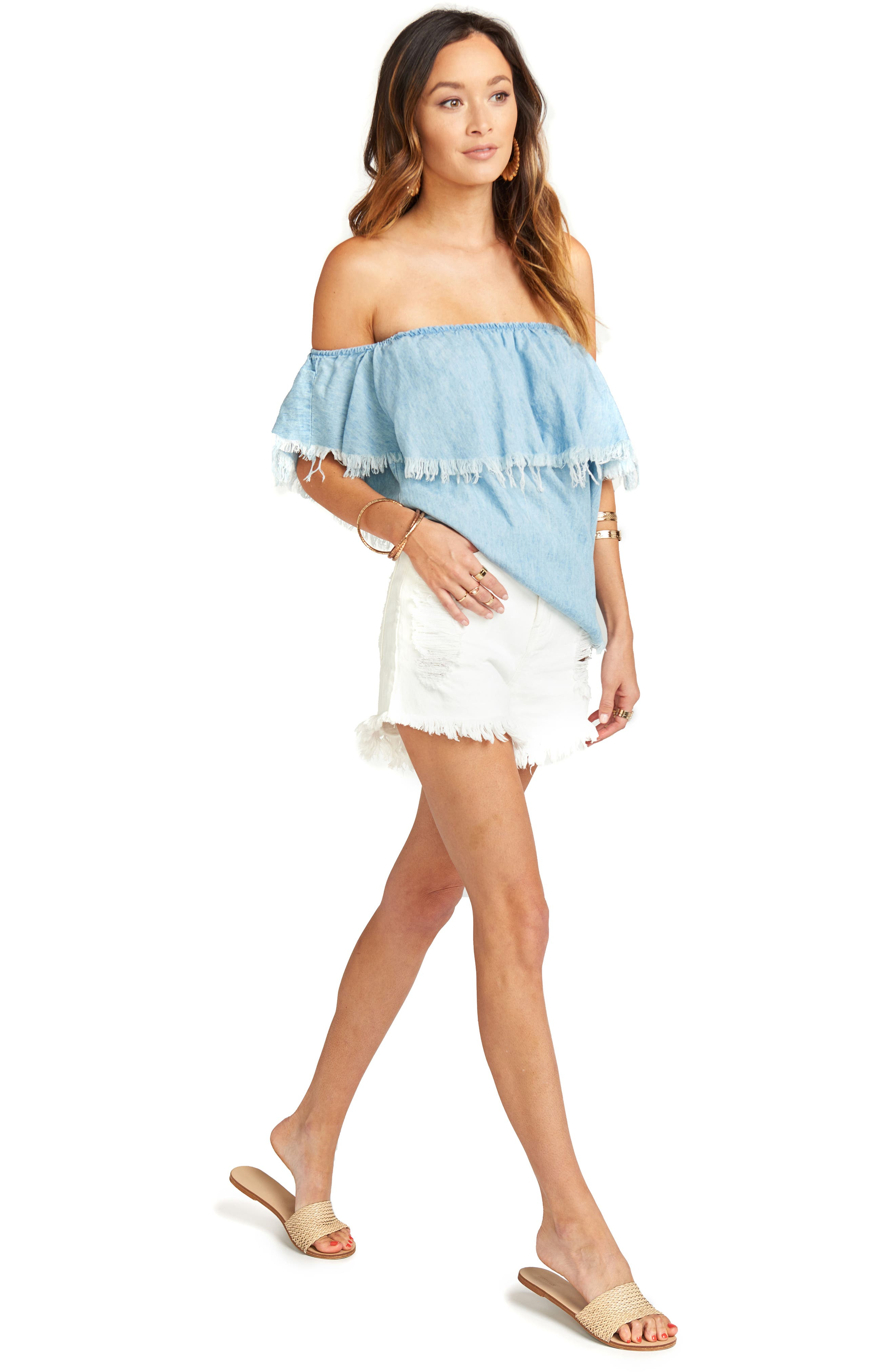 Chiquita Off the Shoulder Top,                             Alternate thumbnail 2, color,                             Light Chambray
