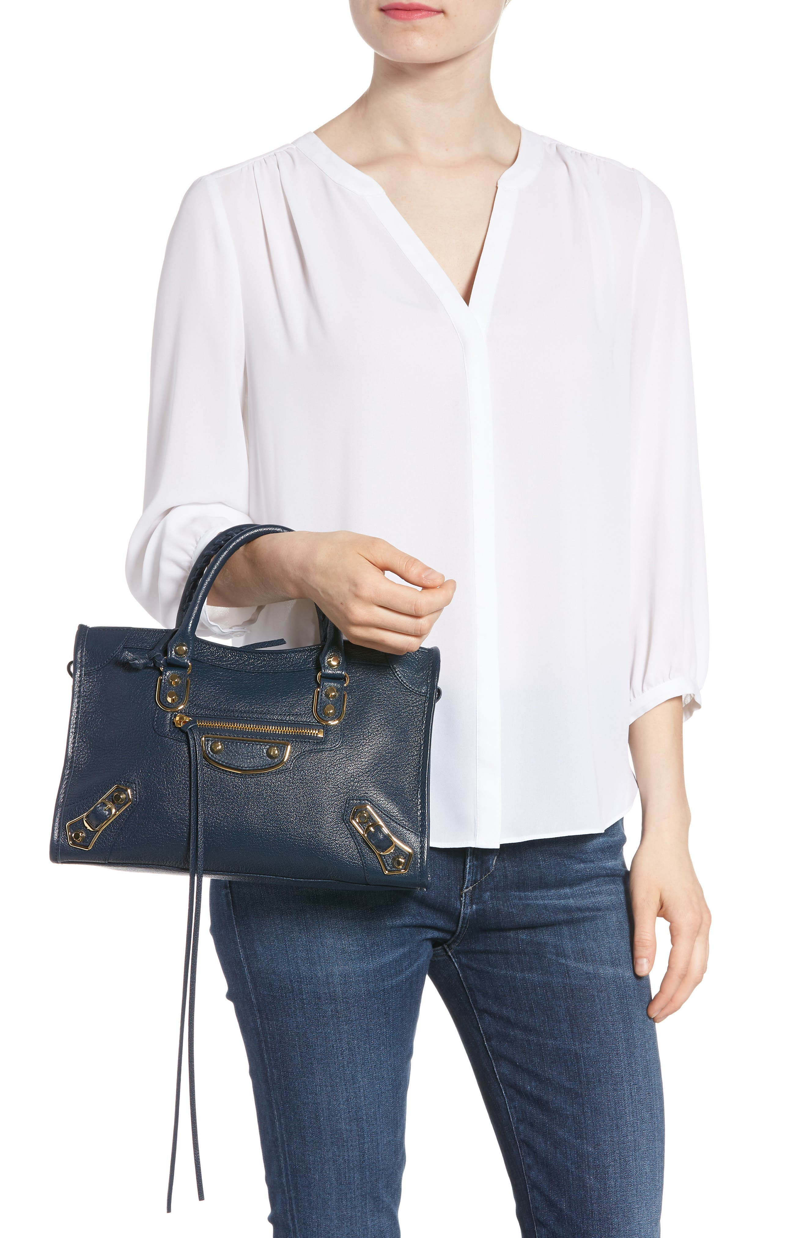 Small Classic Metallic Edge City Leather Tote,                             Alternate thumbnail 2, color,                             Midnight Blue