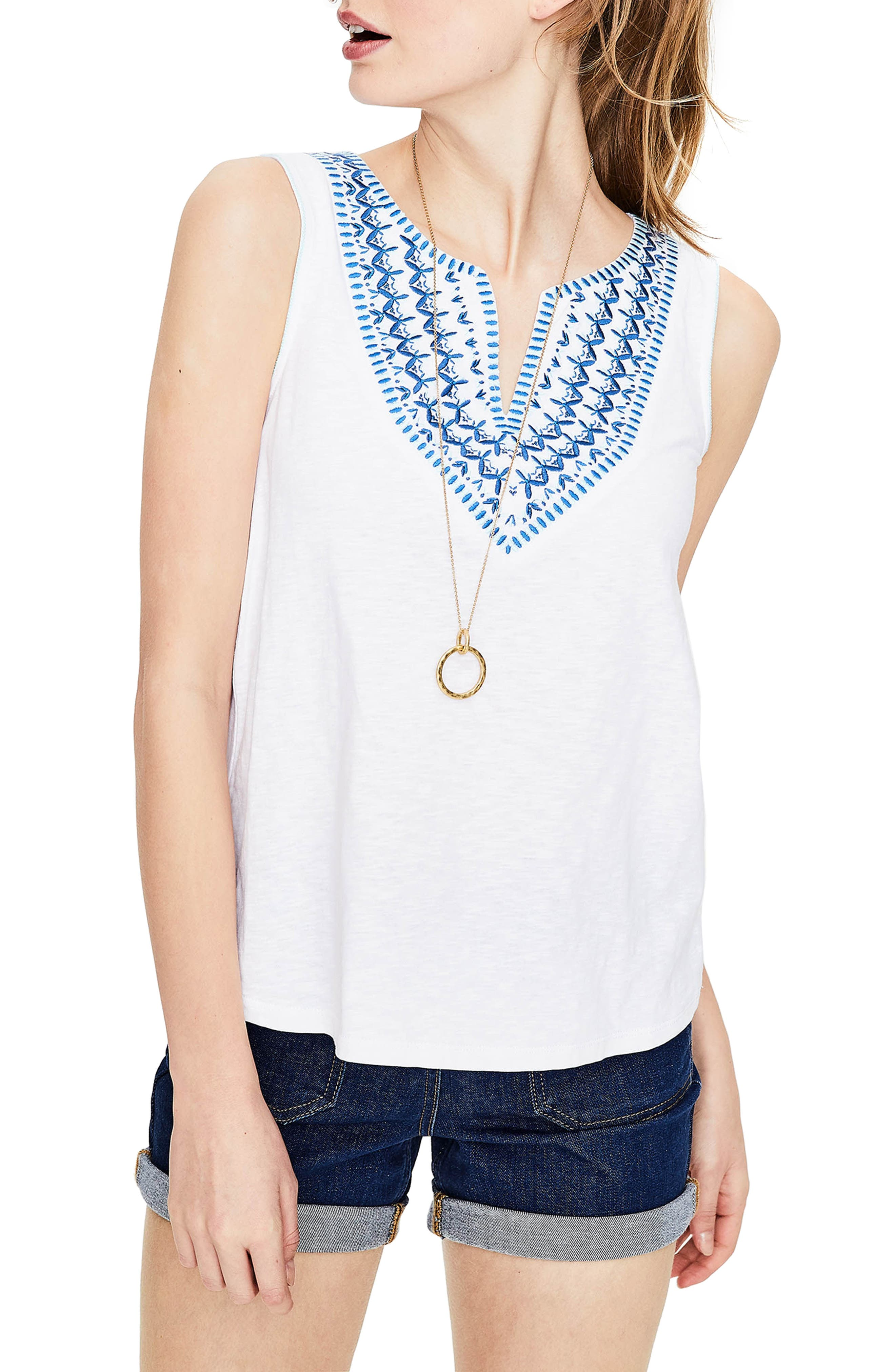 Embroidered Tank,                         Main,                         color, White