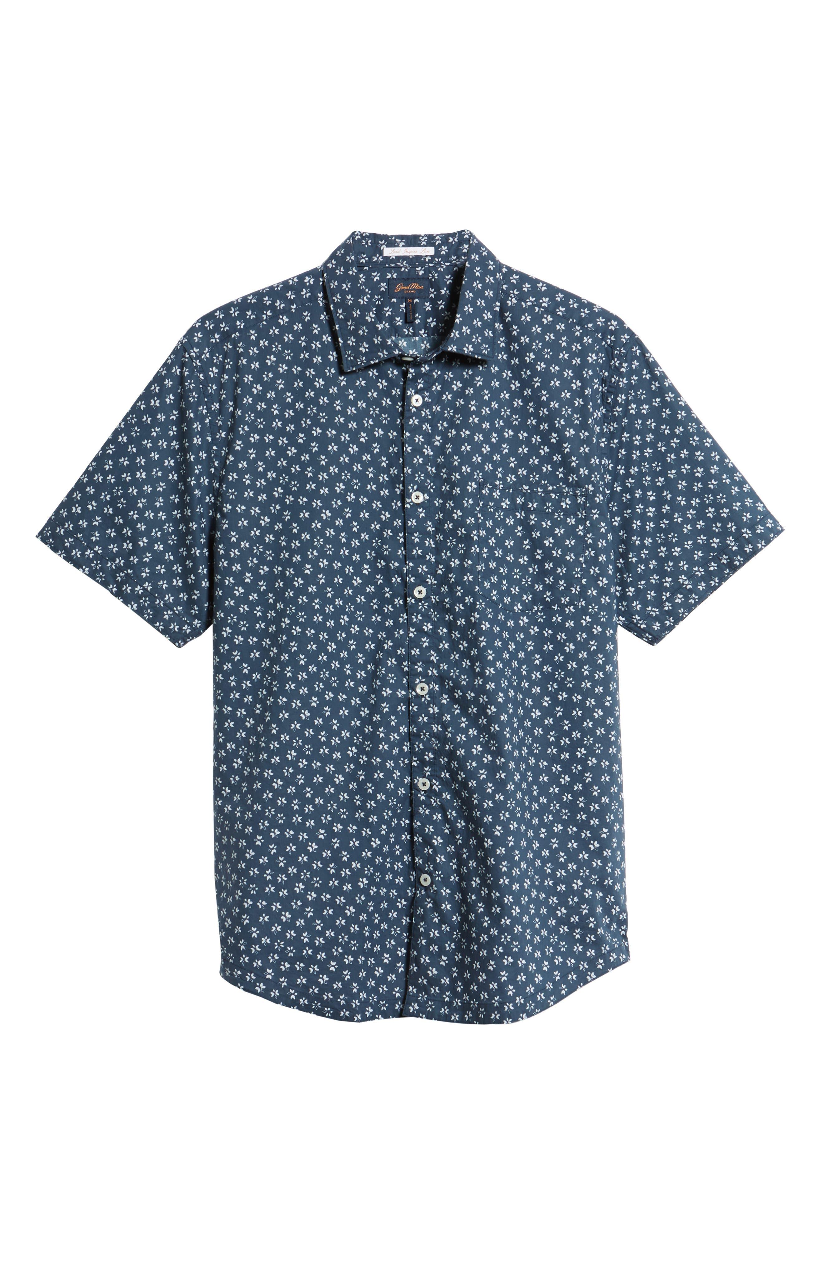Slim Fit Print Sport Shirt,                             Alternate thumbnail 6, color,                             Indigo