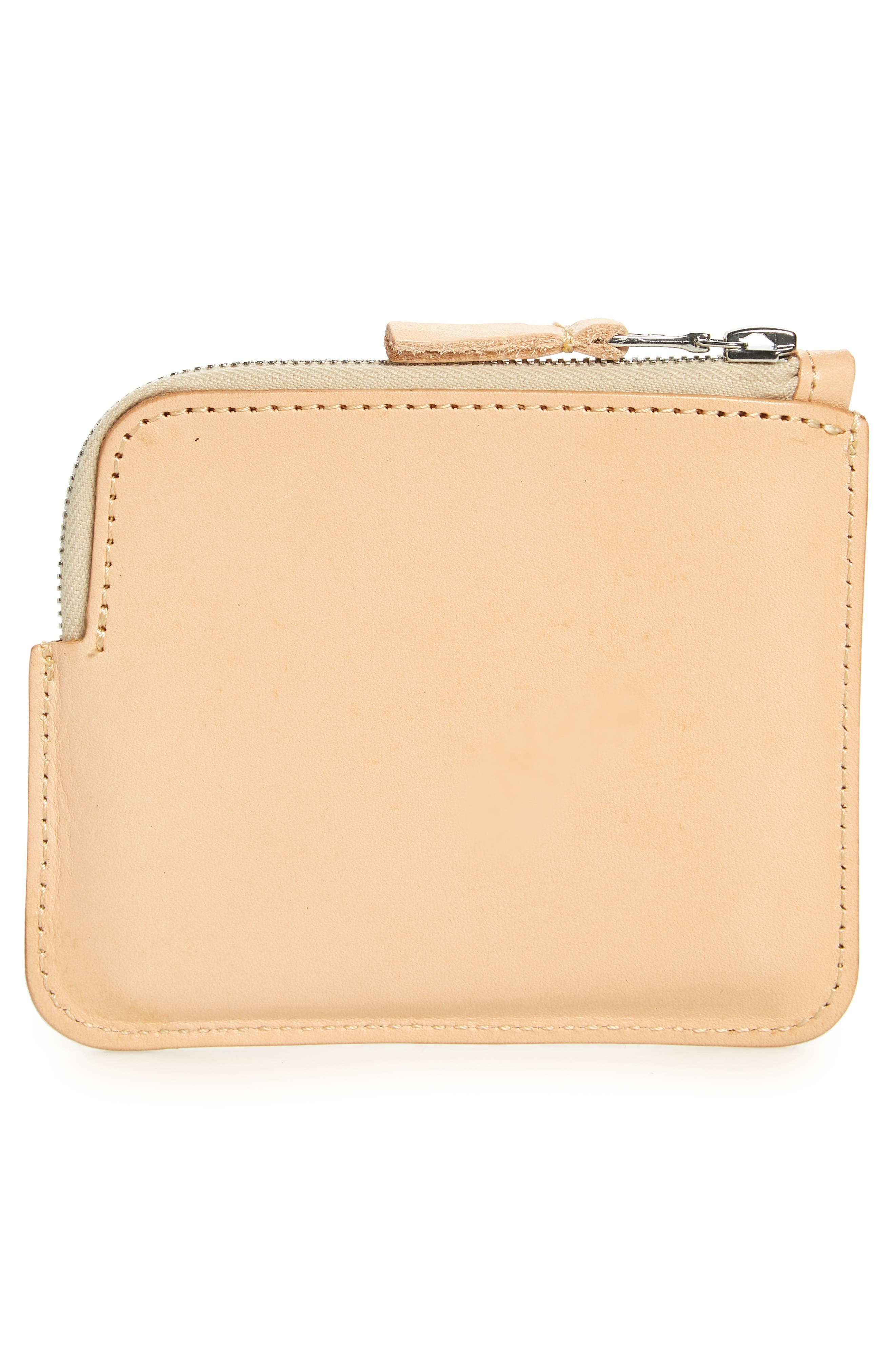 Leather Half Zip Wallet,                             Alternate thumbnail 2, color,                             Vegetable Tan