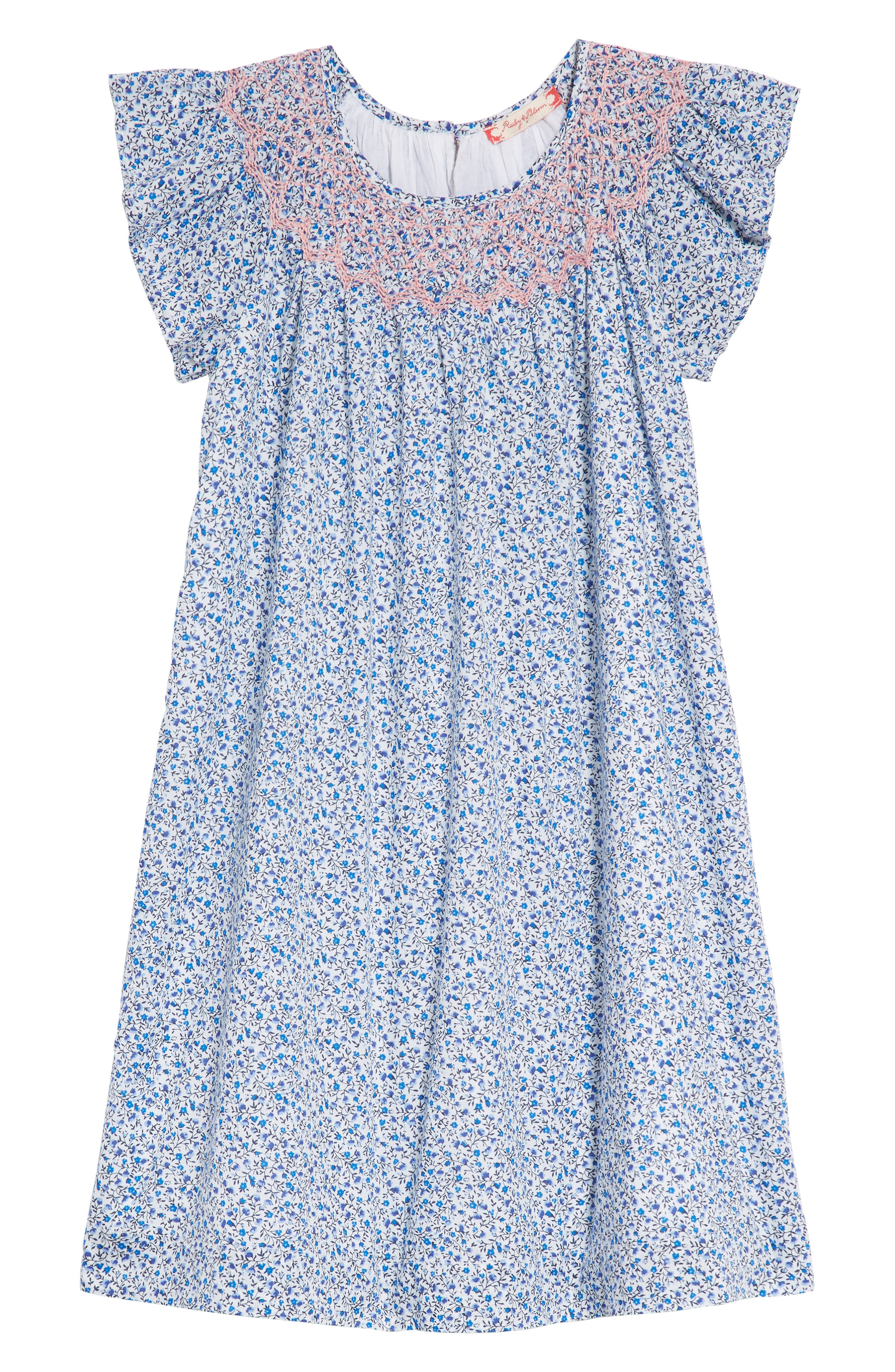 Smocked Ditzy Dress,                         Main,                         color, White- Blue Ditsy