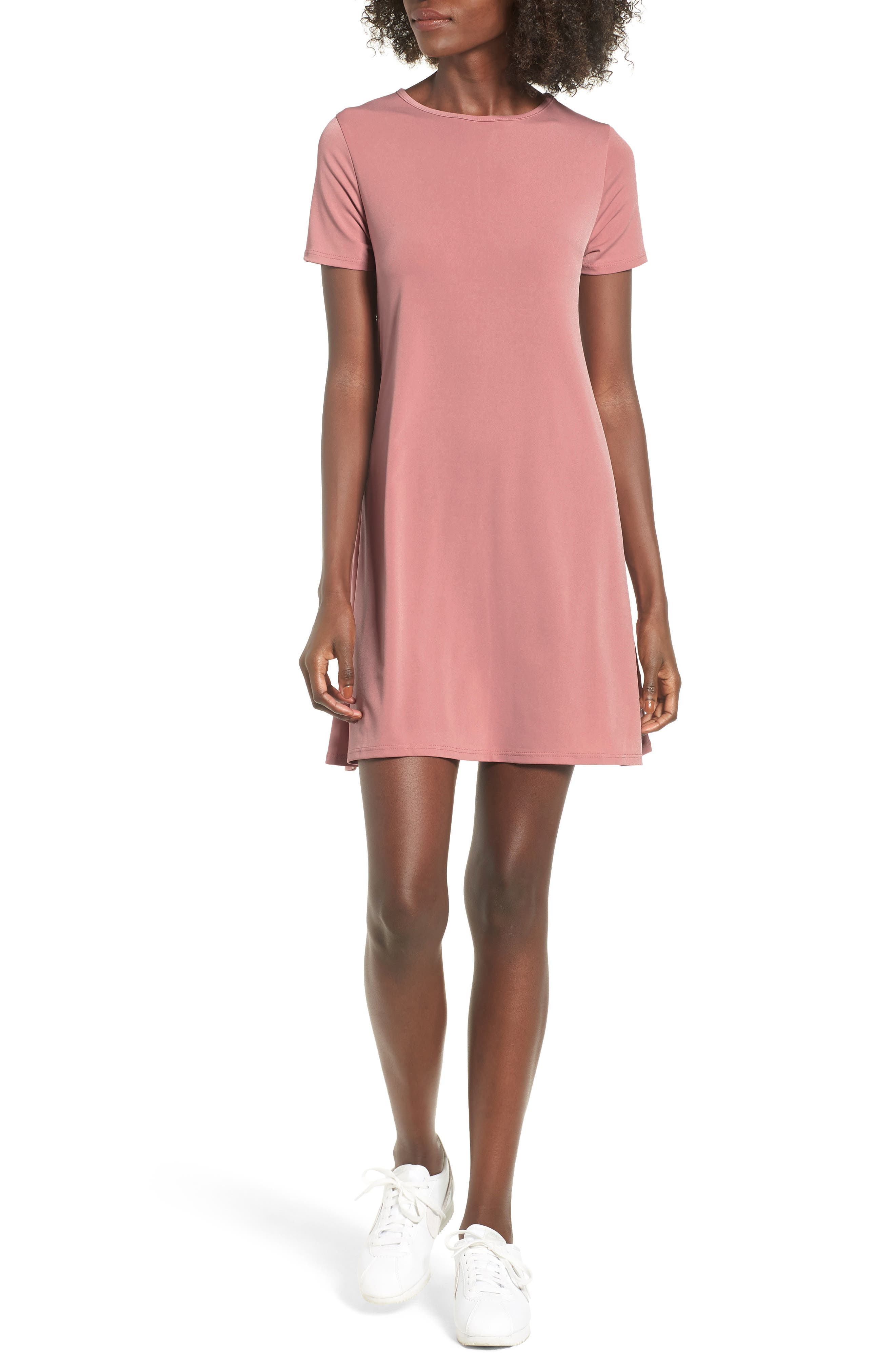 Swing T-Shirt Dress,                             Main thumbnail 1, color,                             Rose