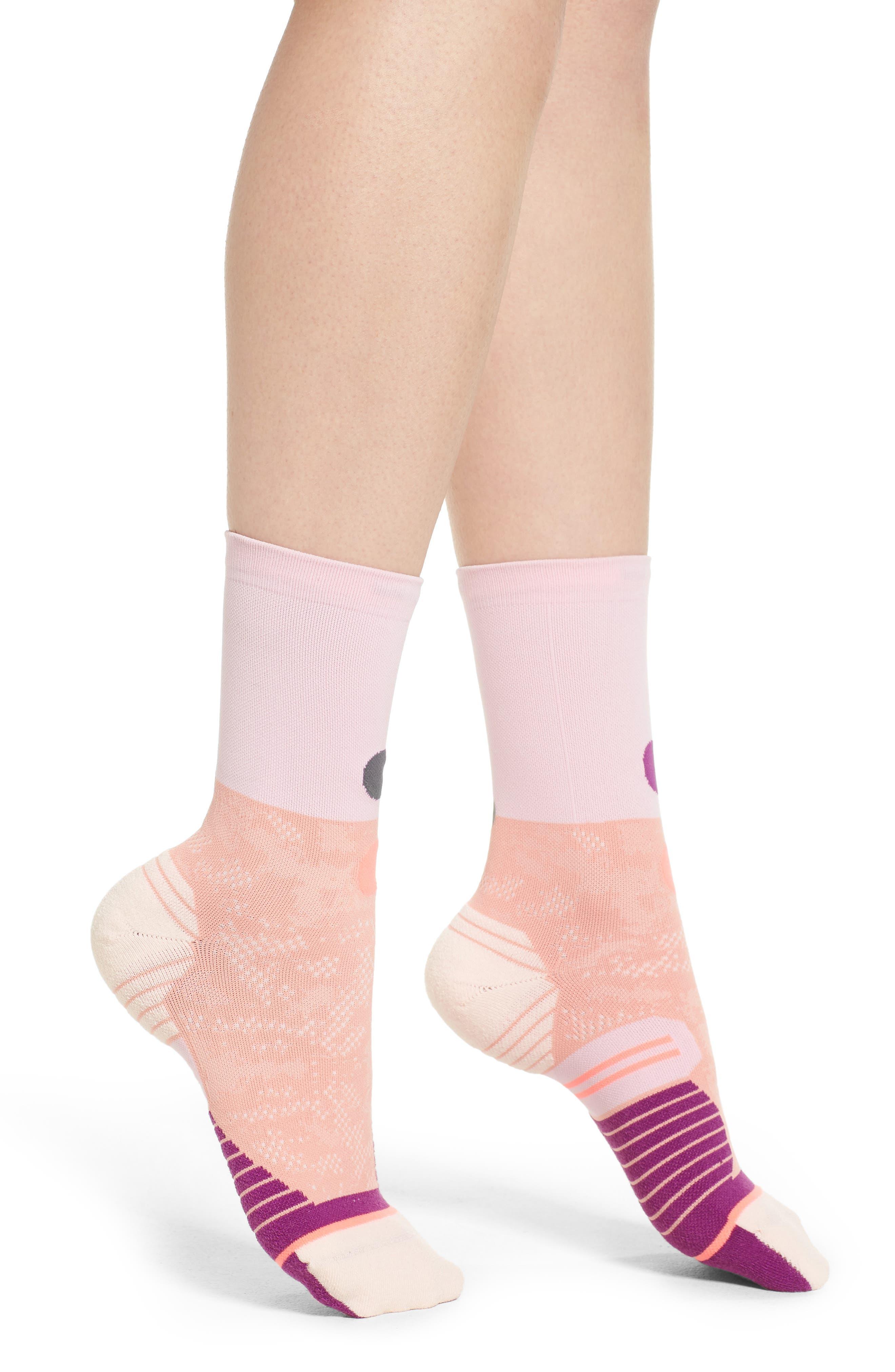 Corral Crew Running Socks,                         Main,                         color, Pink