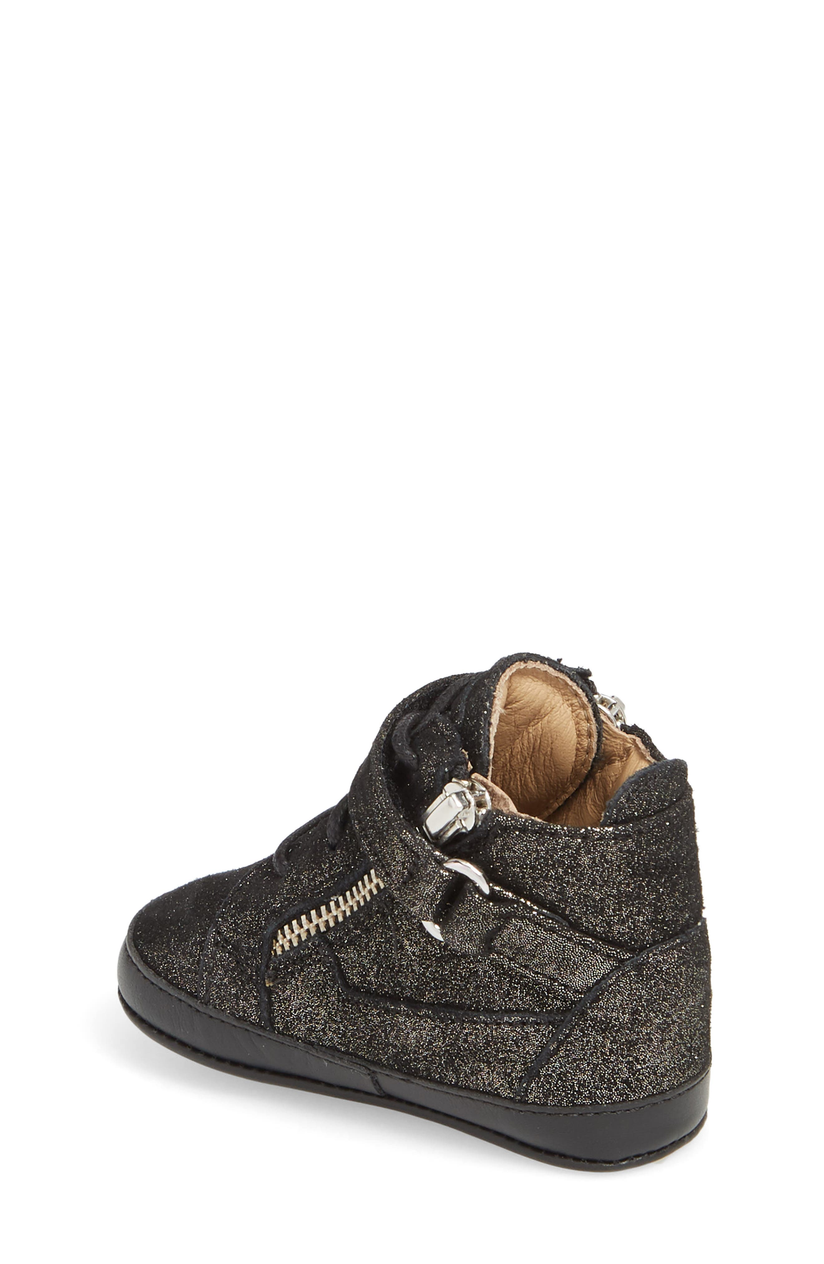 Culla London High Top Crib Sneaker,                             Alternate thumbnail 2, color,                             Black Glitter