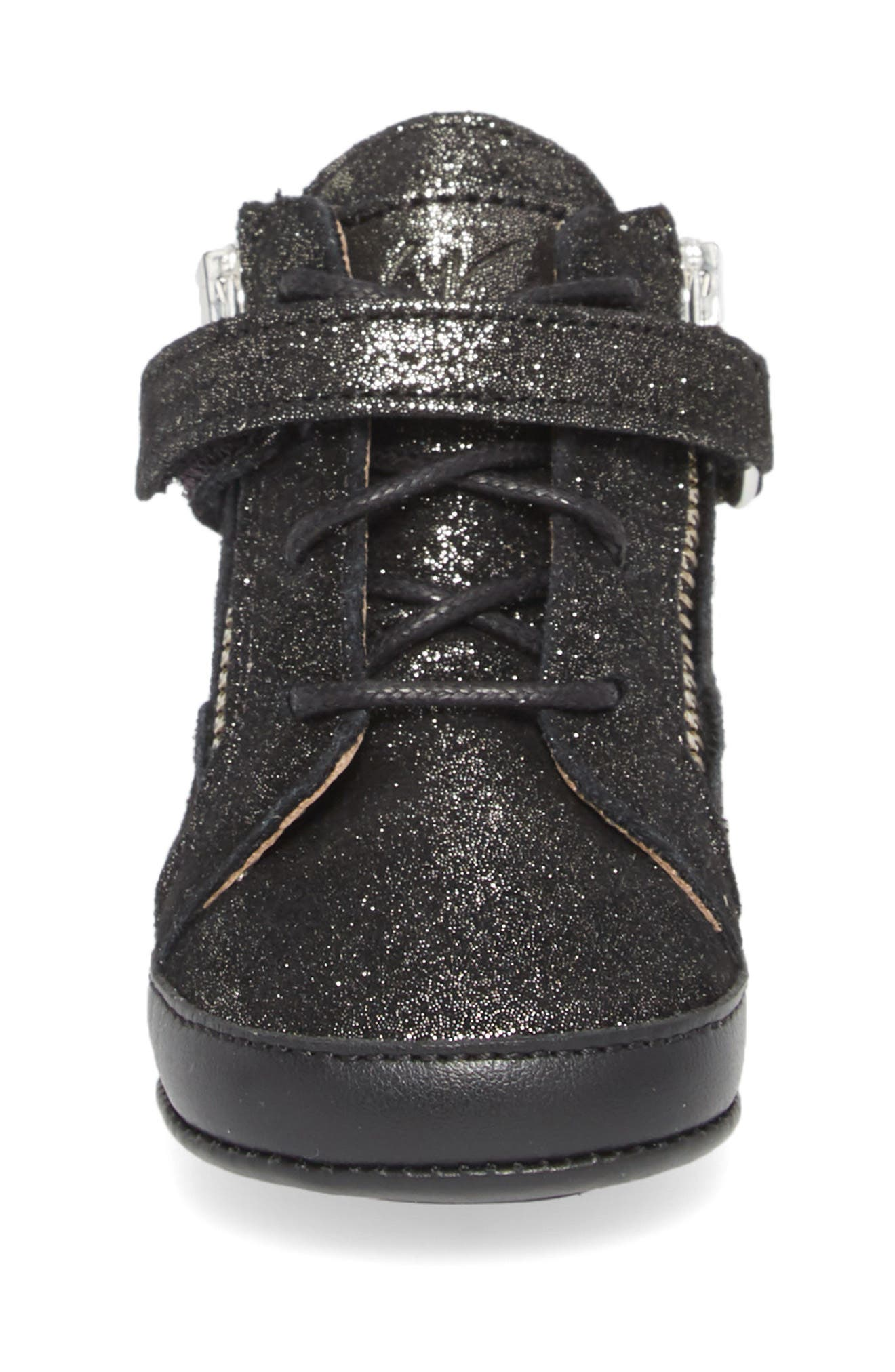 Culla London High Top Crib Sneaker,                             Alternate thumbnail 4, color,                             Black Glitter