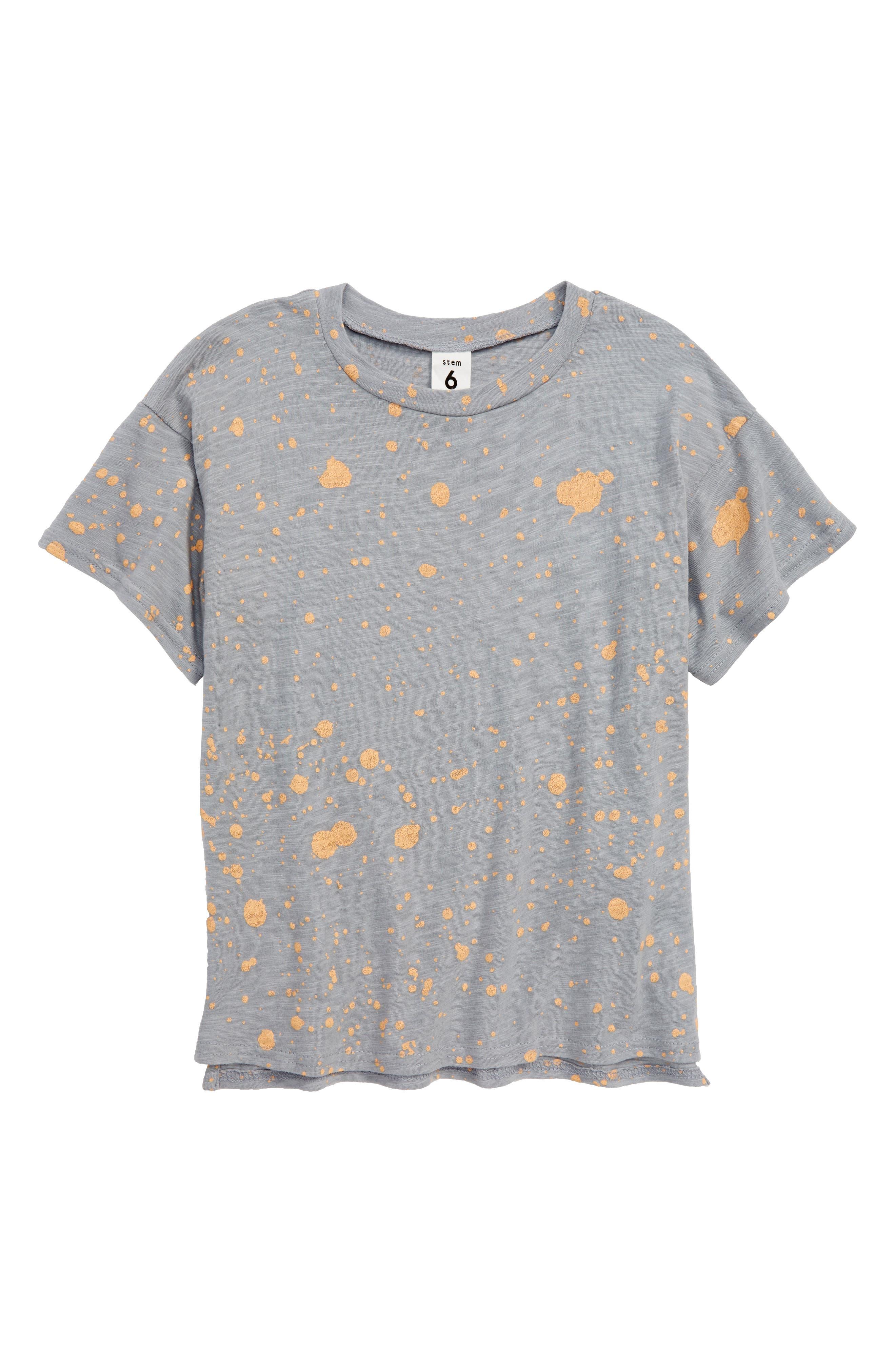 Print T-Shirt,                             Main thumbnail 1, color,                             Grey Sleet- Orange Splatter
