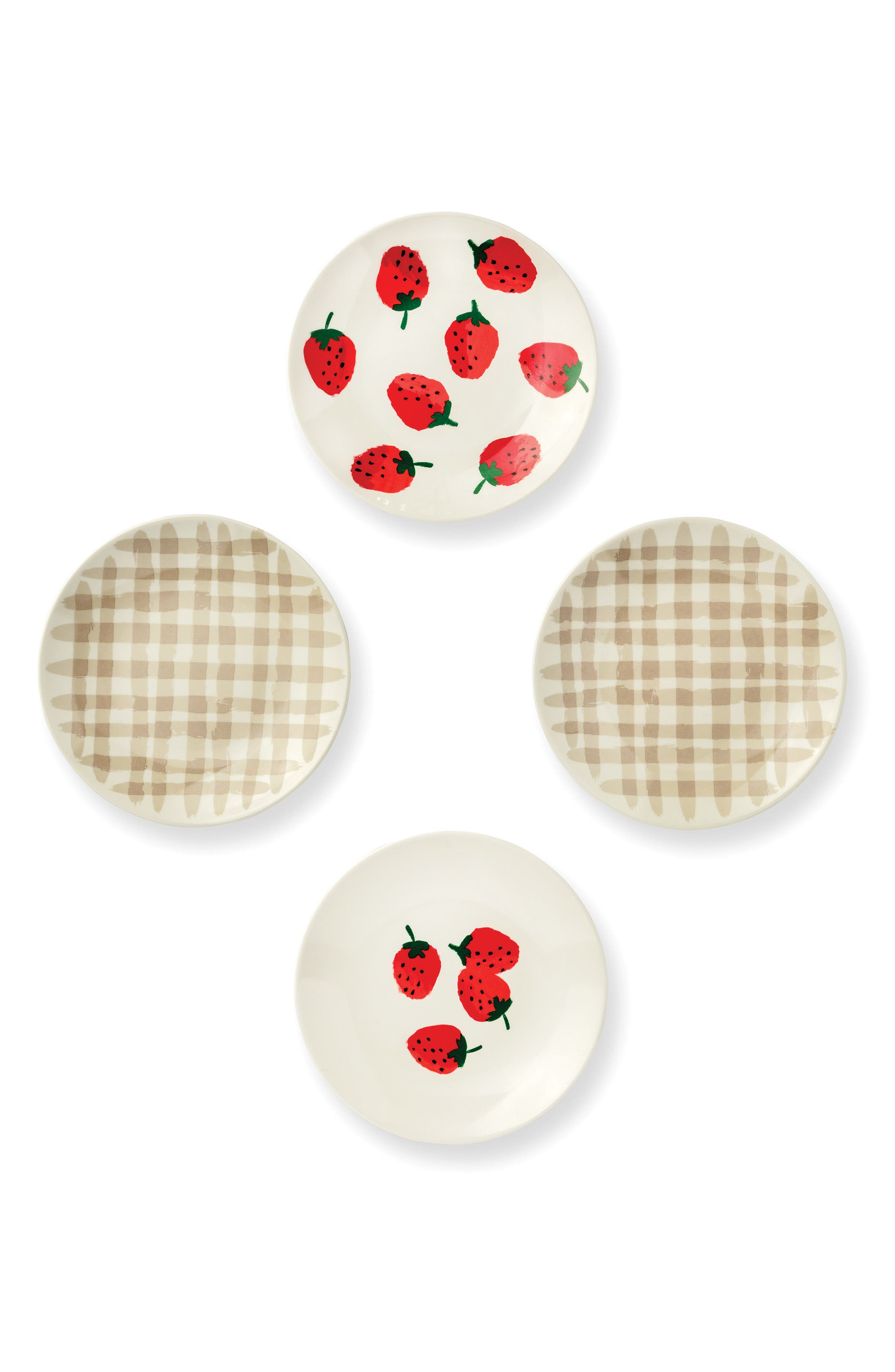 kate spade new york strawberries set of 4 melamine tidbit plates
