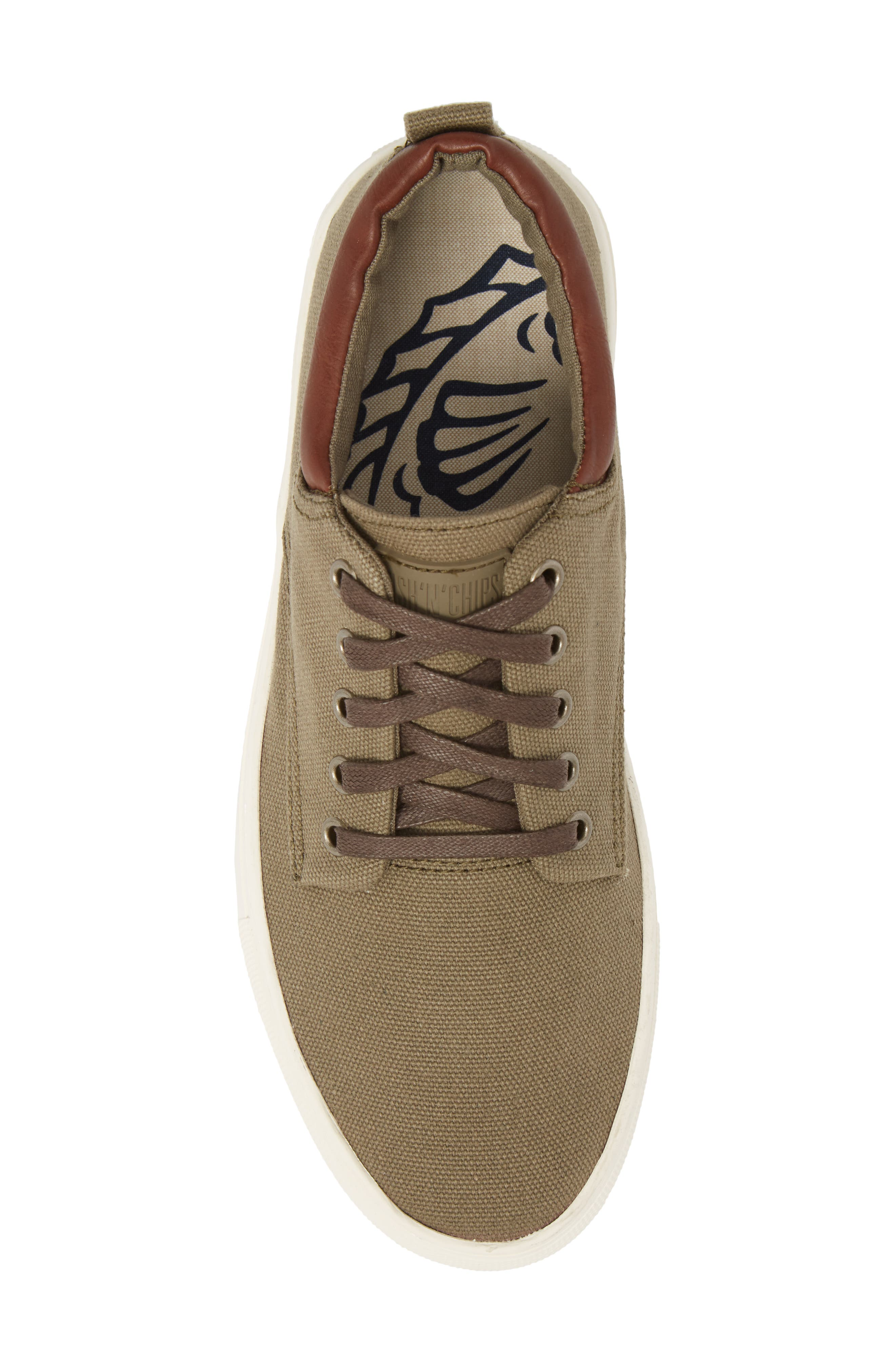 Fish 'N' Chips Hampton Low Top Sneaker,                             Alternate thumbnail 5, color,                             Olive Fabric