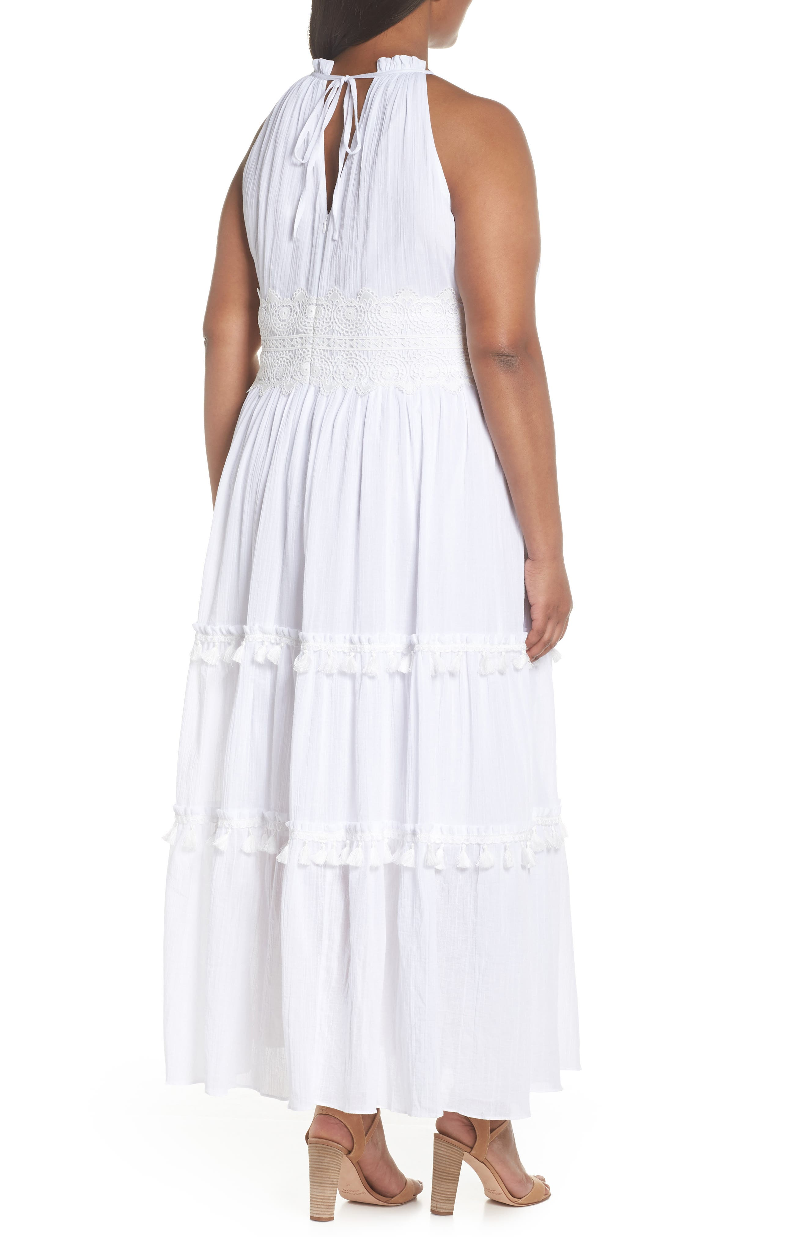 Halter Neck Cotton Maxi Dress,                             Alternate thumbnail 2, color,                             Ivory