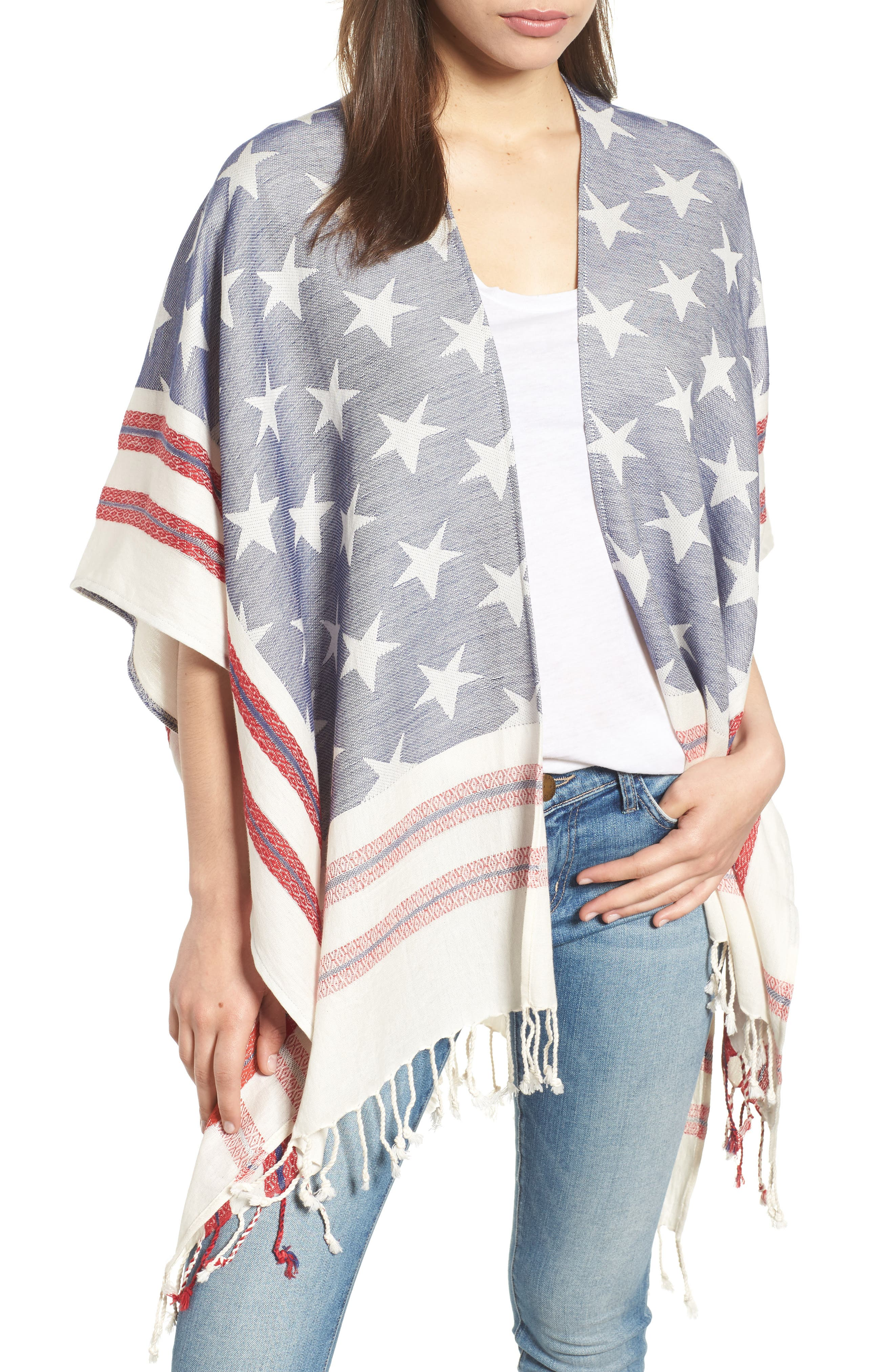 American Boho Jacquard Topper,                         Main,                         color, Navy/ Red
