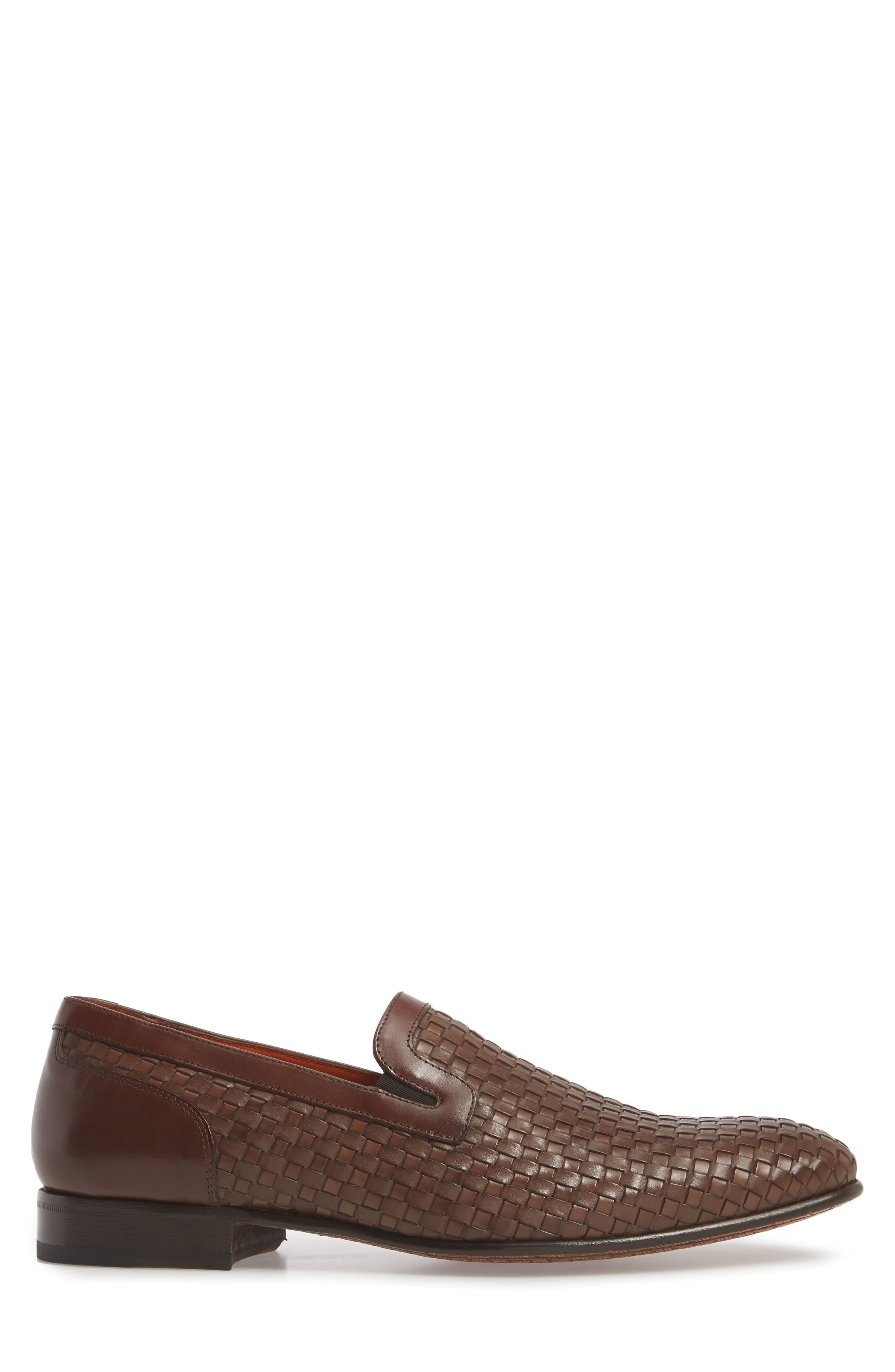 Eliseo Woven Venetian Loafer,                             Alternate thumbnail 3, color,                             Brown Leather
