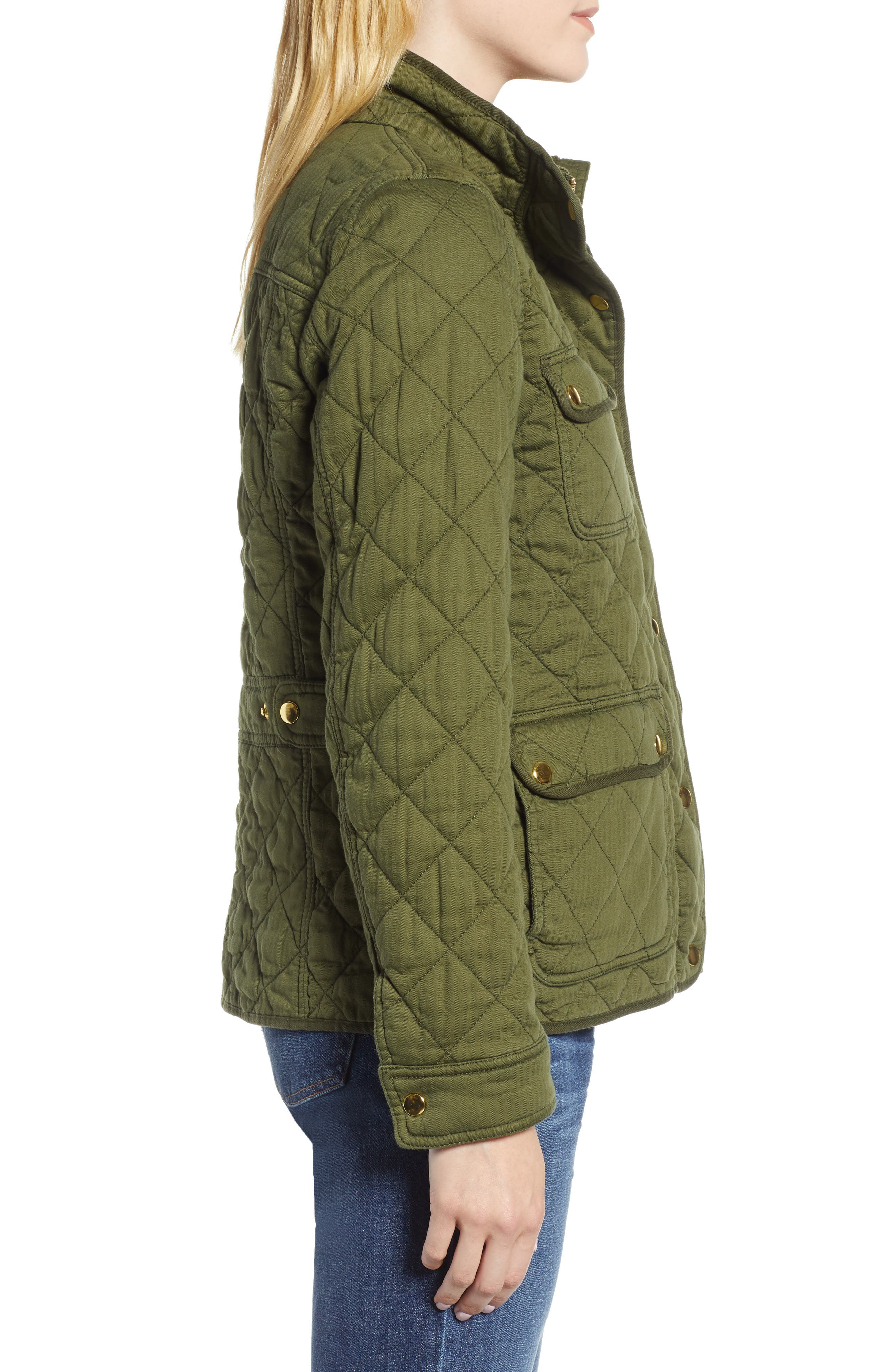 Quilted Downtown Field Jacket,                             Alternate thumbnail 3, color,                             Deep Moss