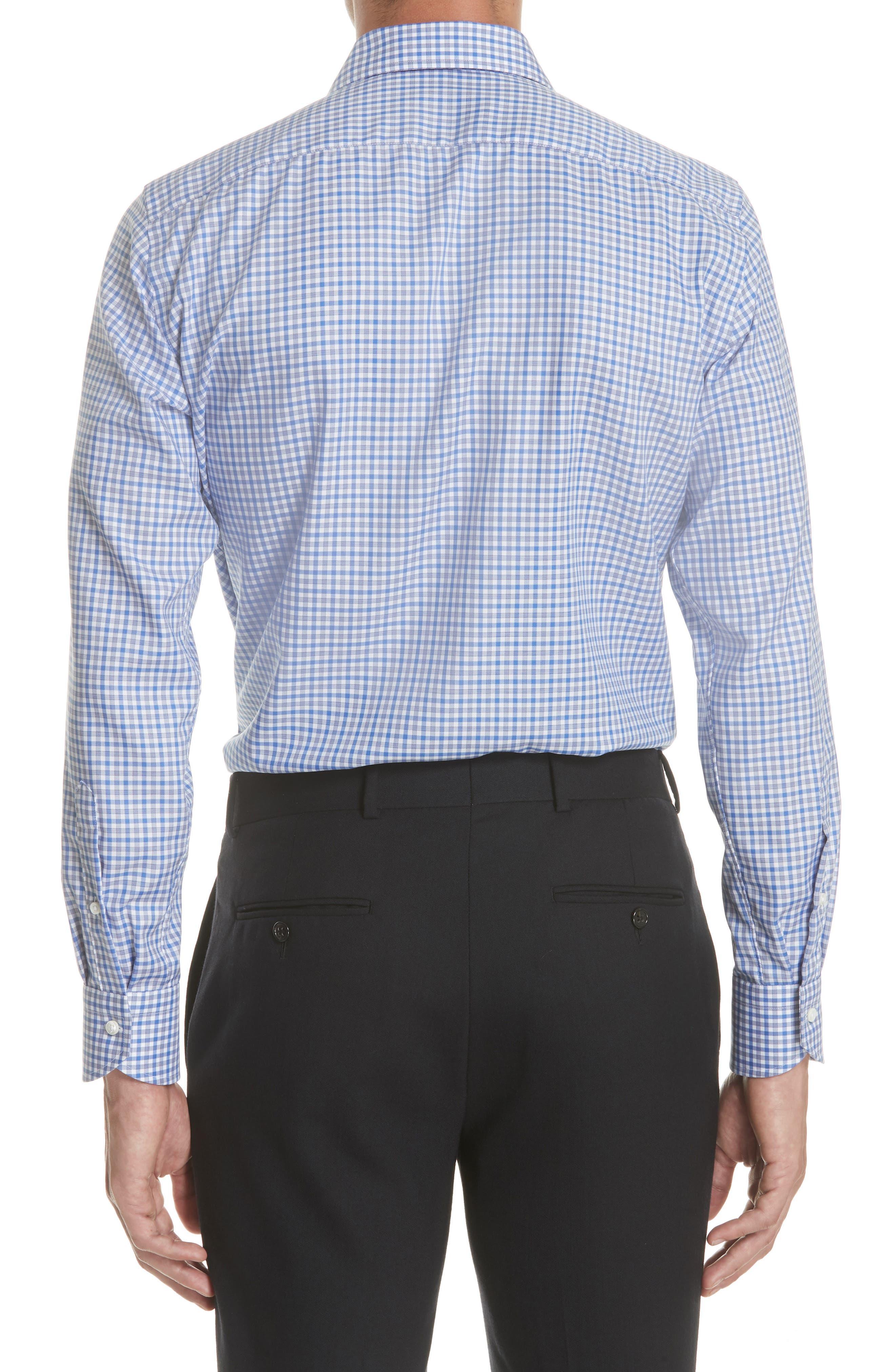 Regular Fit Non-Iron Check Dress Shirt,                             Alternate thumbnail 3, color,                             Med Blue