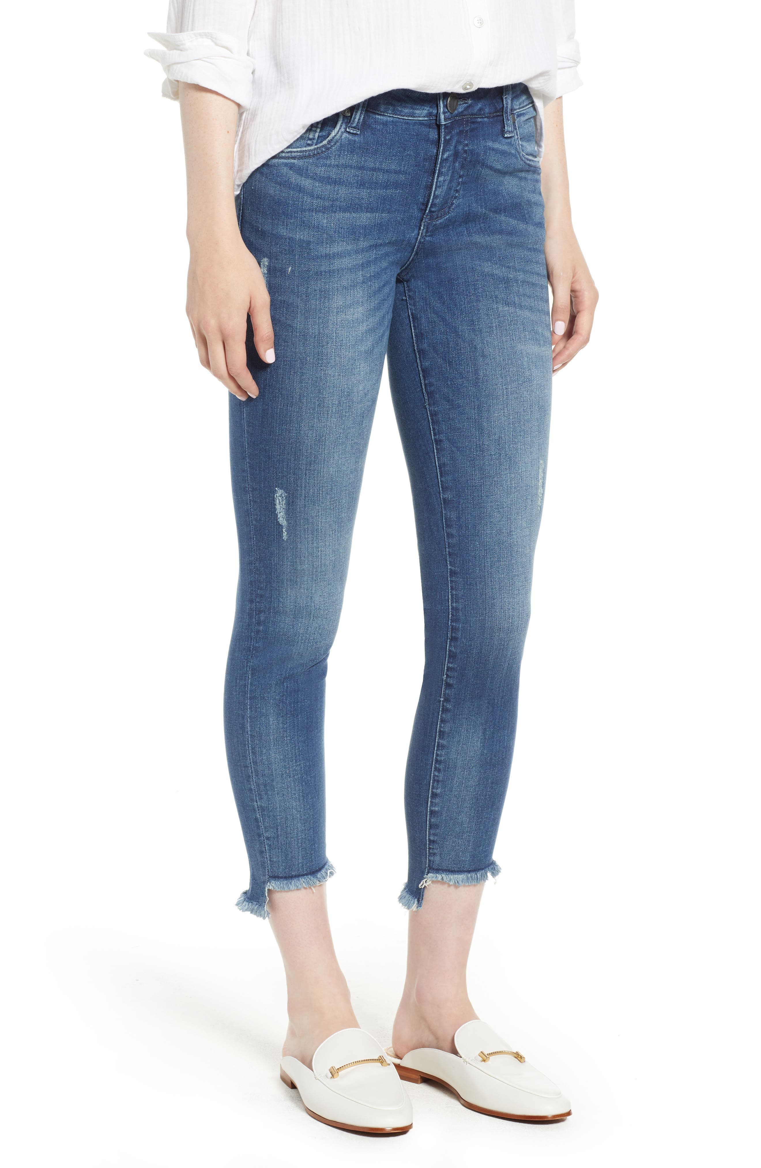 KUT from the Kloth Connie Step Hem Ankle Skinny Jeans,                         Main,                         color, Healthful