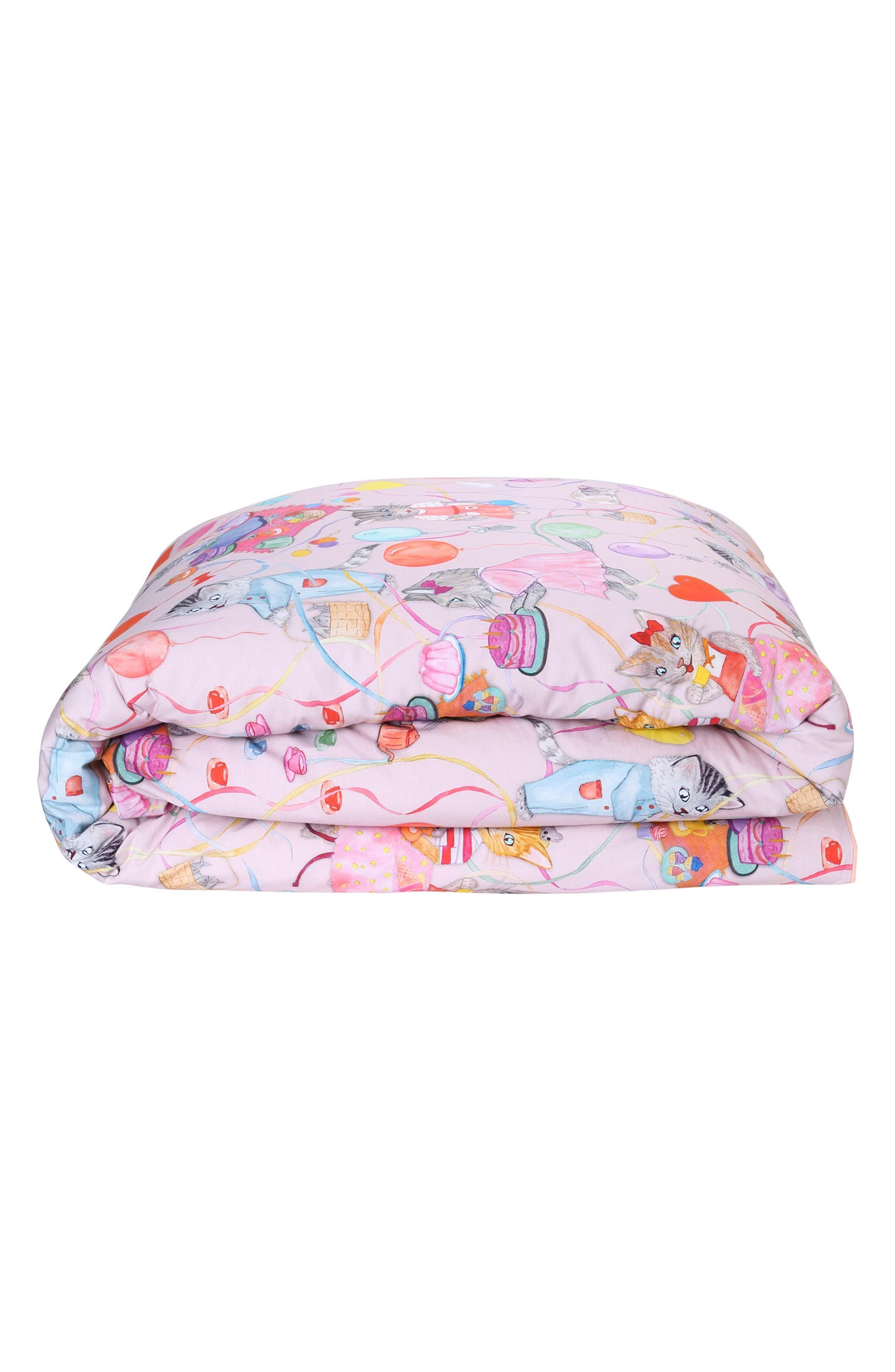 The Kitty Party Cotton Duvet Cover,                         Main,                         color, Multi
