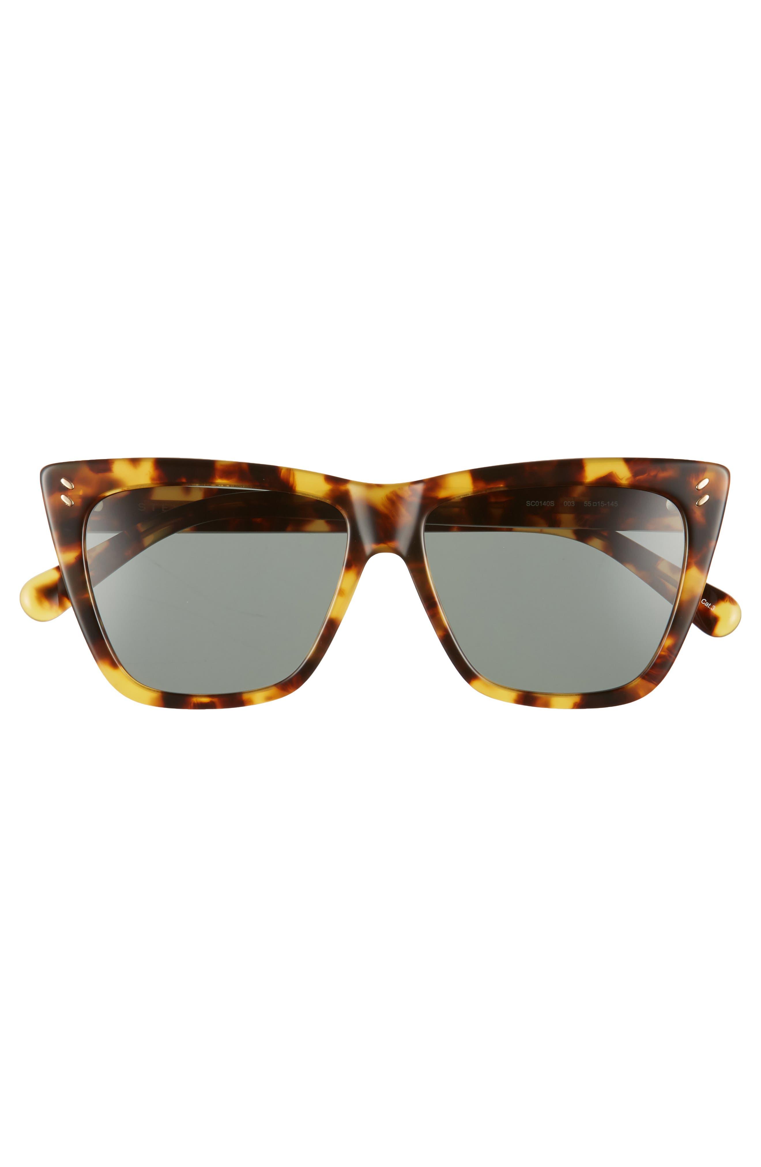 55mm Polarized Sunglasses,                             Alternate thumbnail 3, color,                             Medium Havana