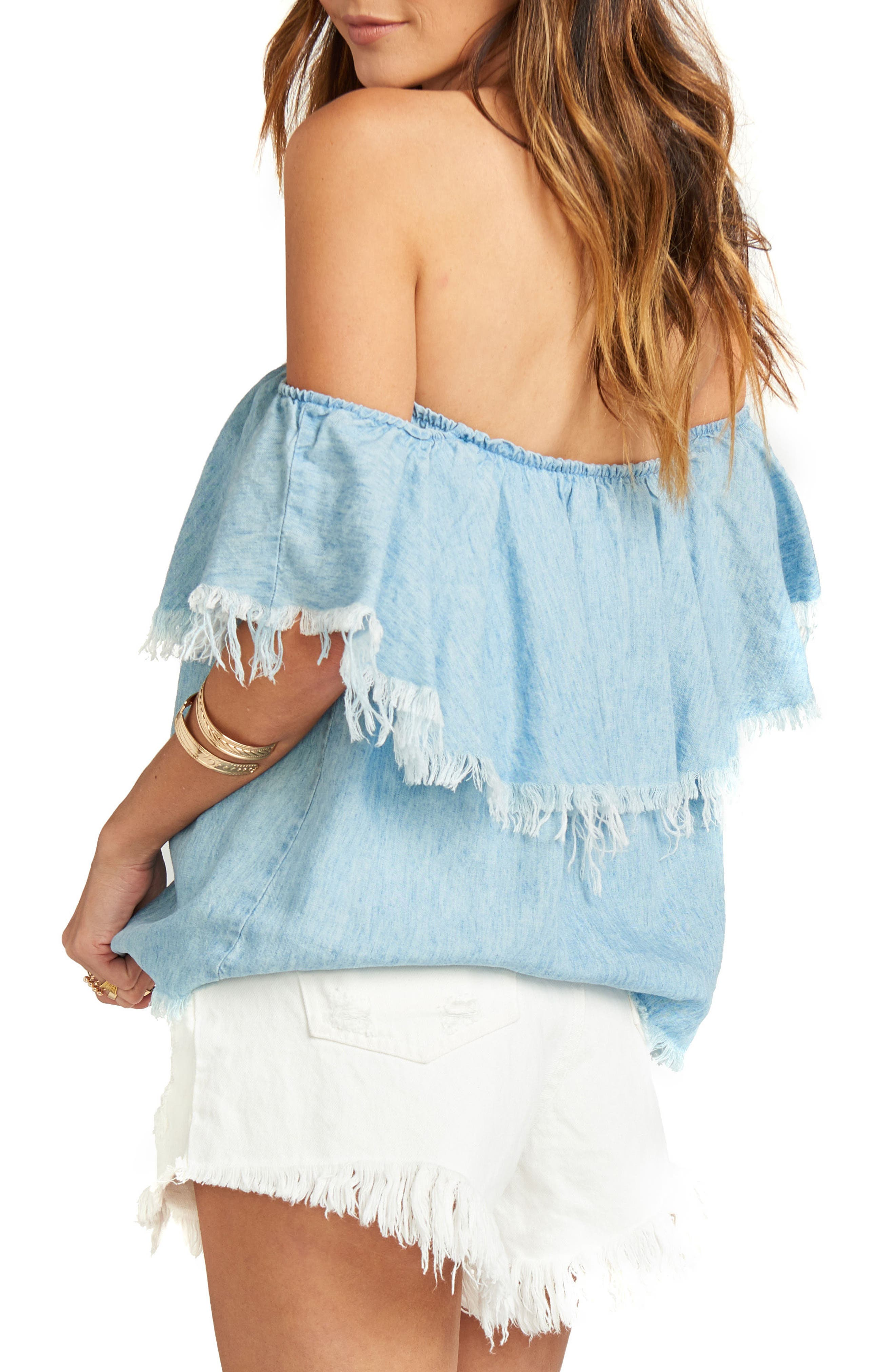 Chiquita Off the Shoulder Top,                             Alternate thumbnail 3, color,                             Light Chambray