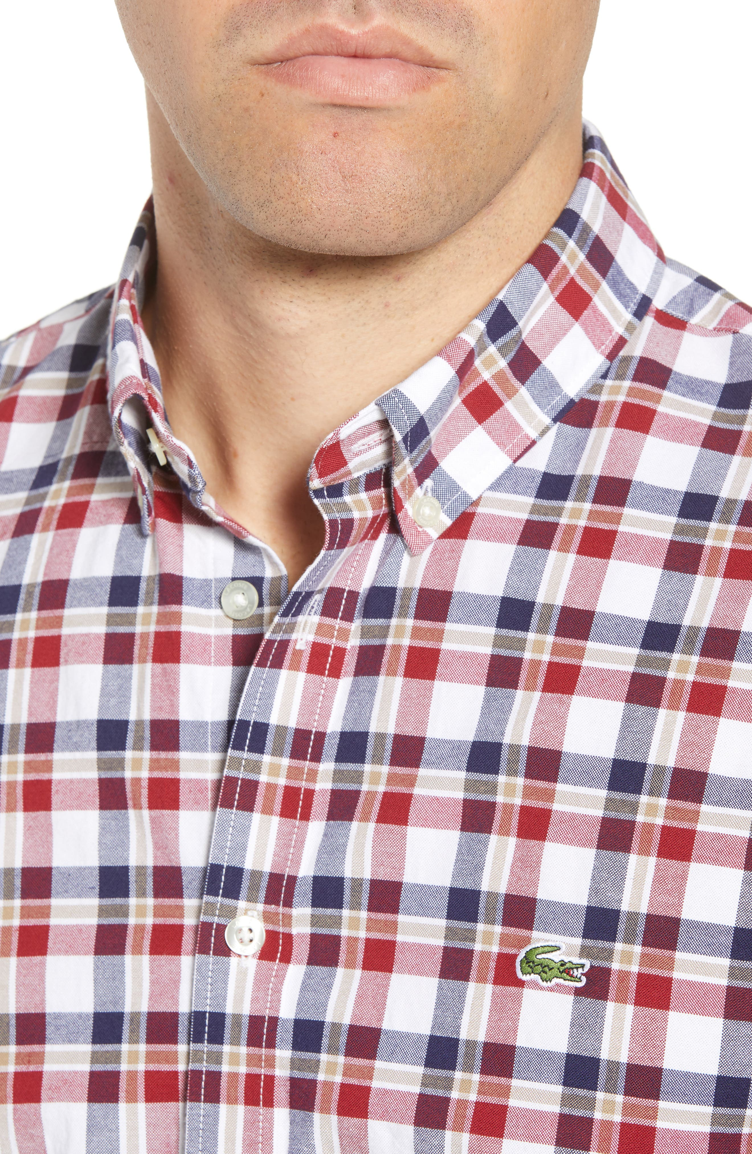 Slim Fit Check Oxford Sport Shirt,                             Alternate thumbnail 2, color,                             Turkey Red