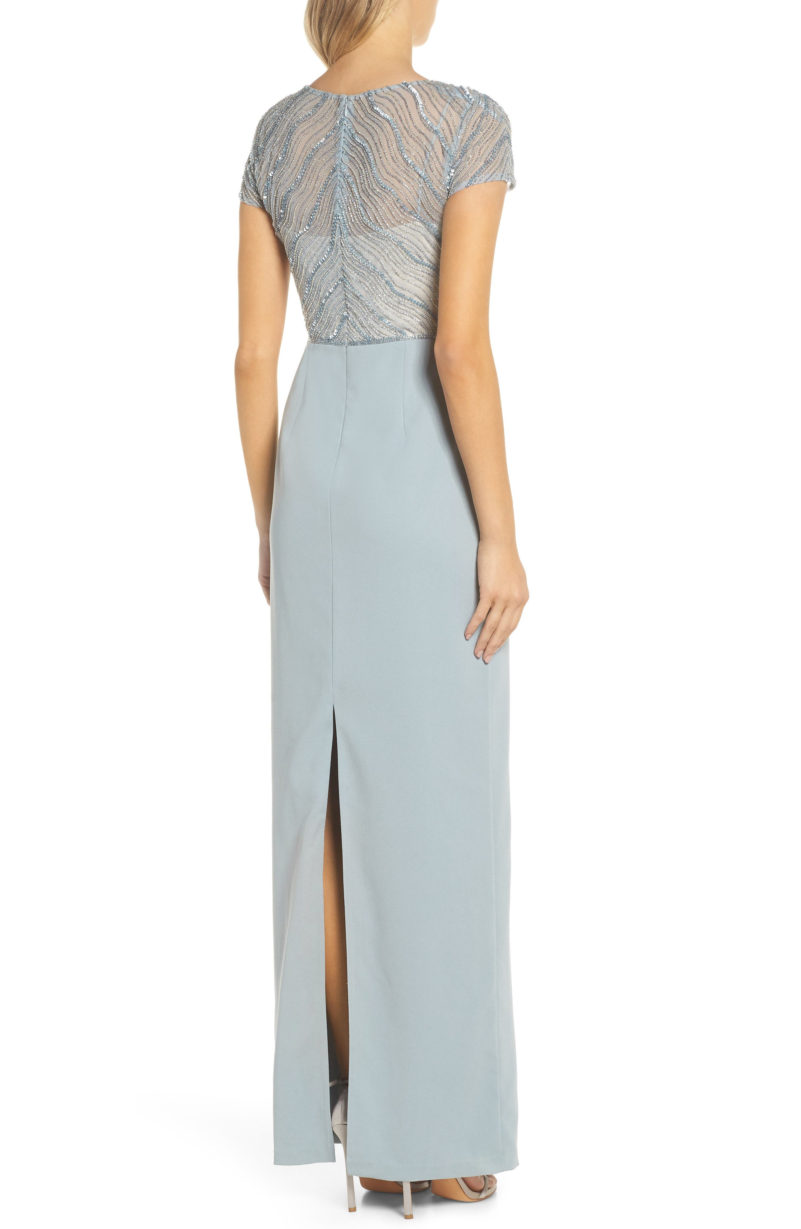 Beaded Illusion Bodice Gown,                             Alternate thumbnail 2, color,                             Blue Heather