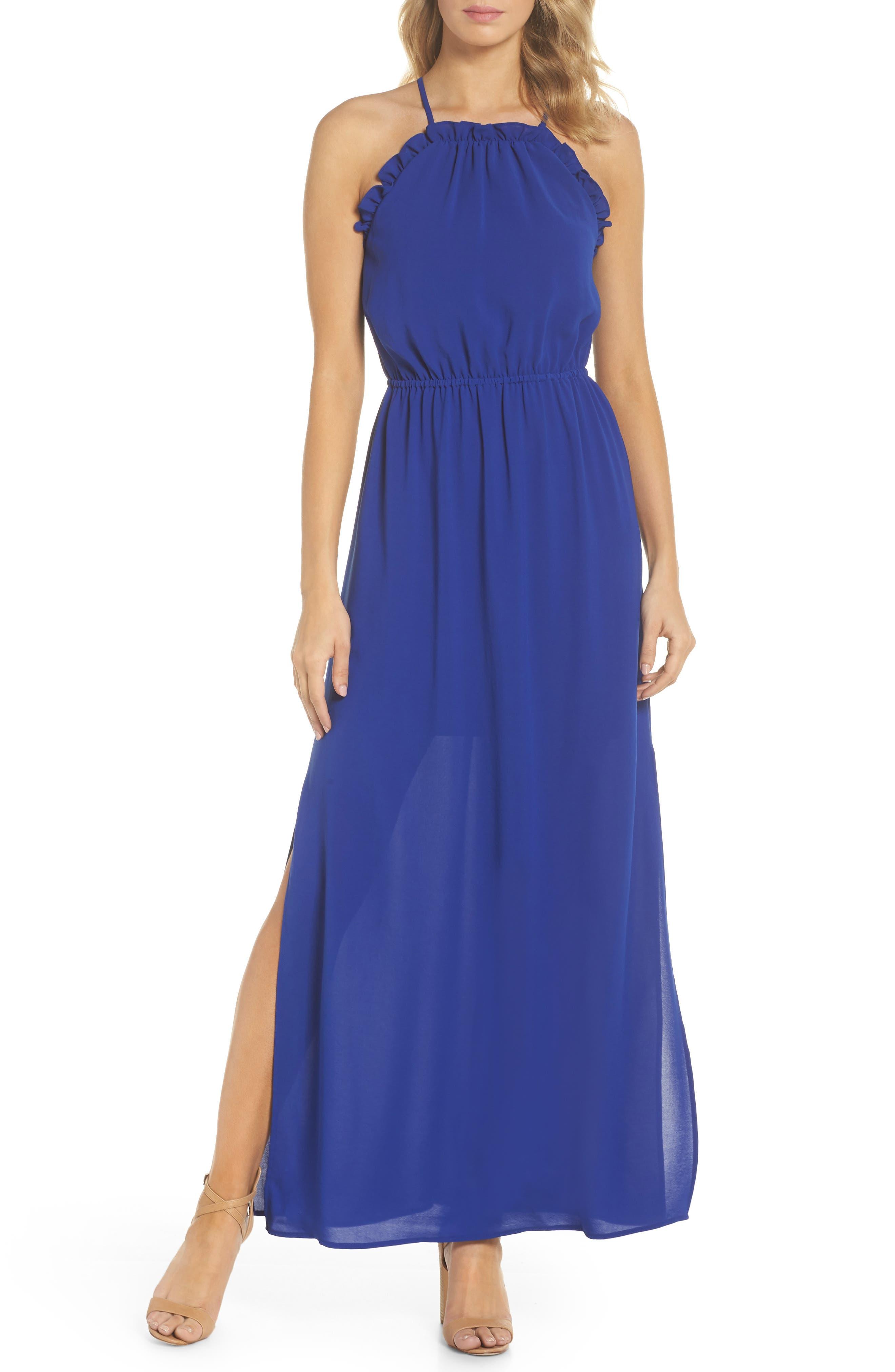 Adrianna Papell Crepe Blouson Maxi Dress