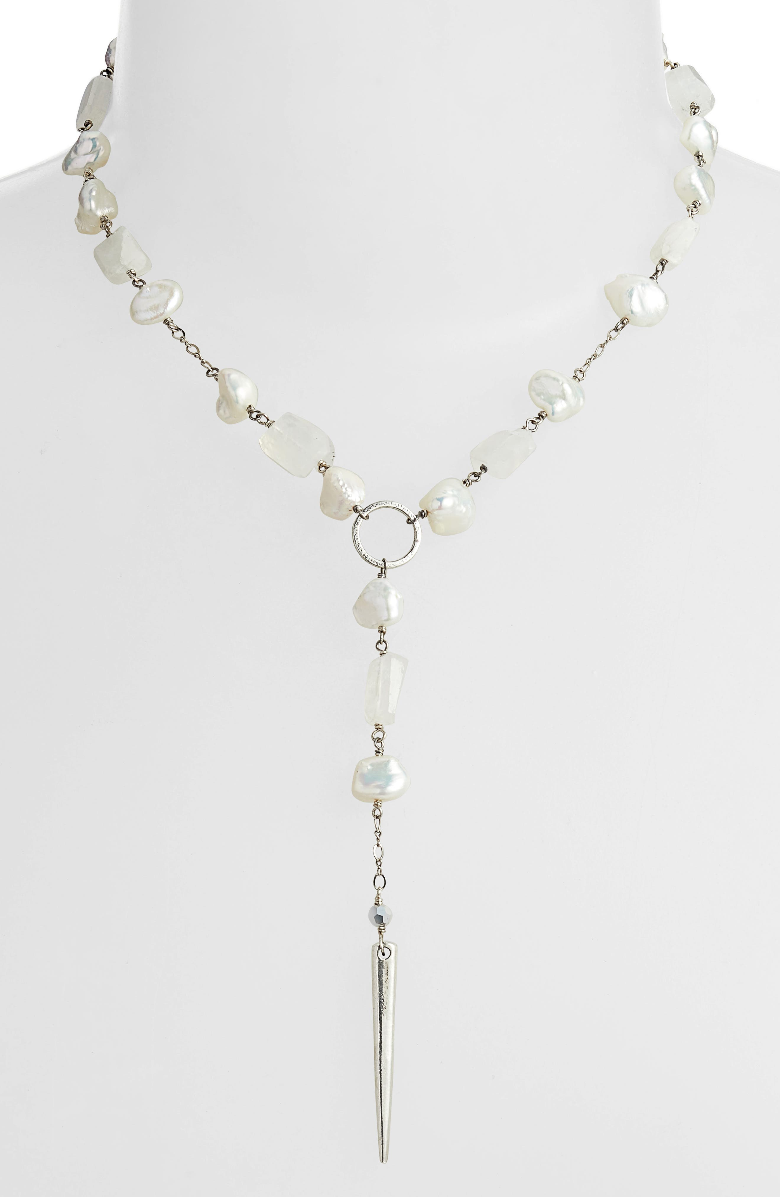 CHAN LUU Mixed Stone Dagger Pendant Necklace in White Pearl Mix