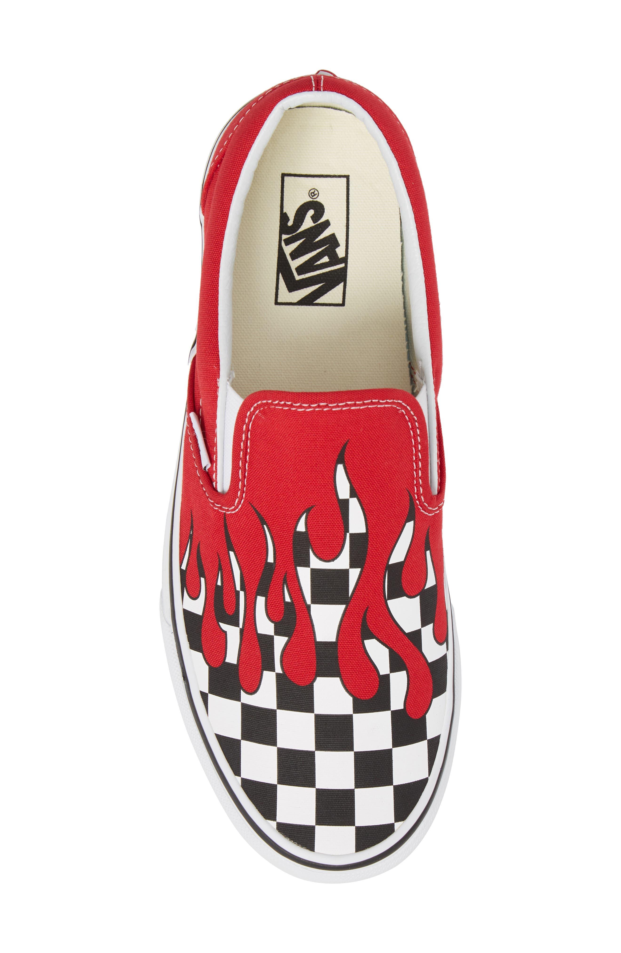 UA Classic Slip-On Sneaker,                             Alternate thumbnail 4, color,                             Racing Red/ White Checker