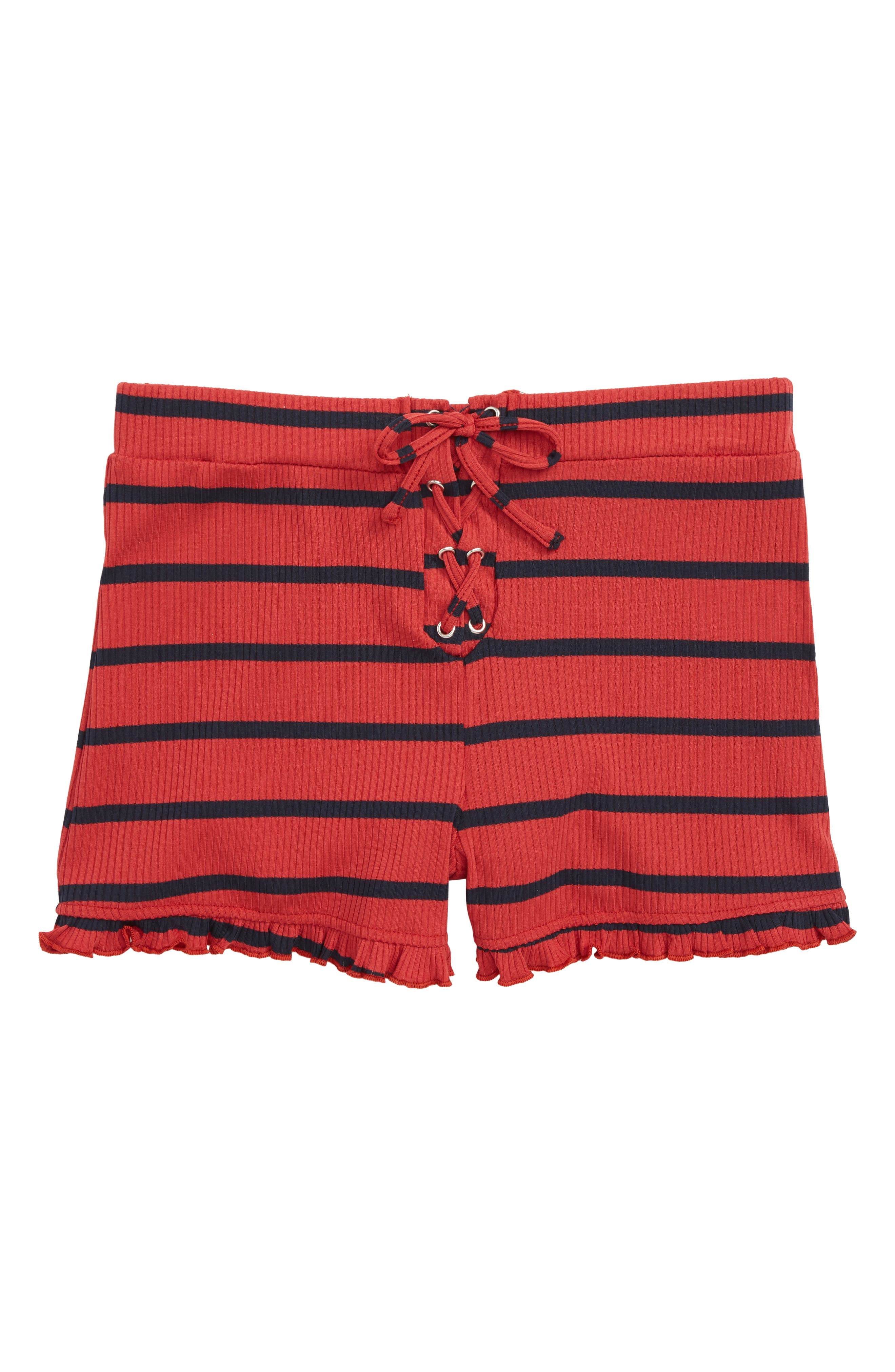 Stripe Ruffle Shorts,                         Main,                         color, Red/ Navy
