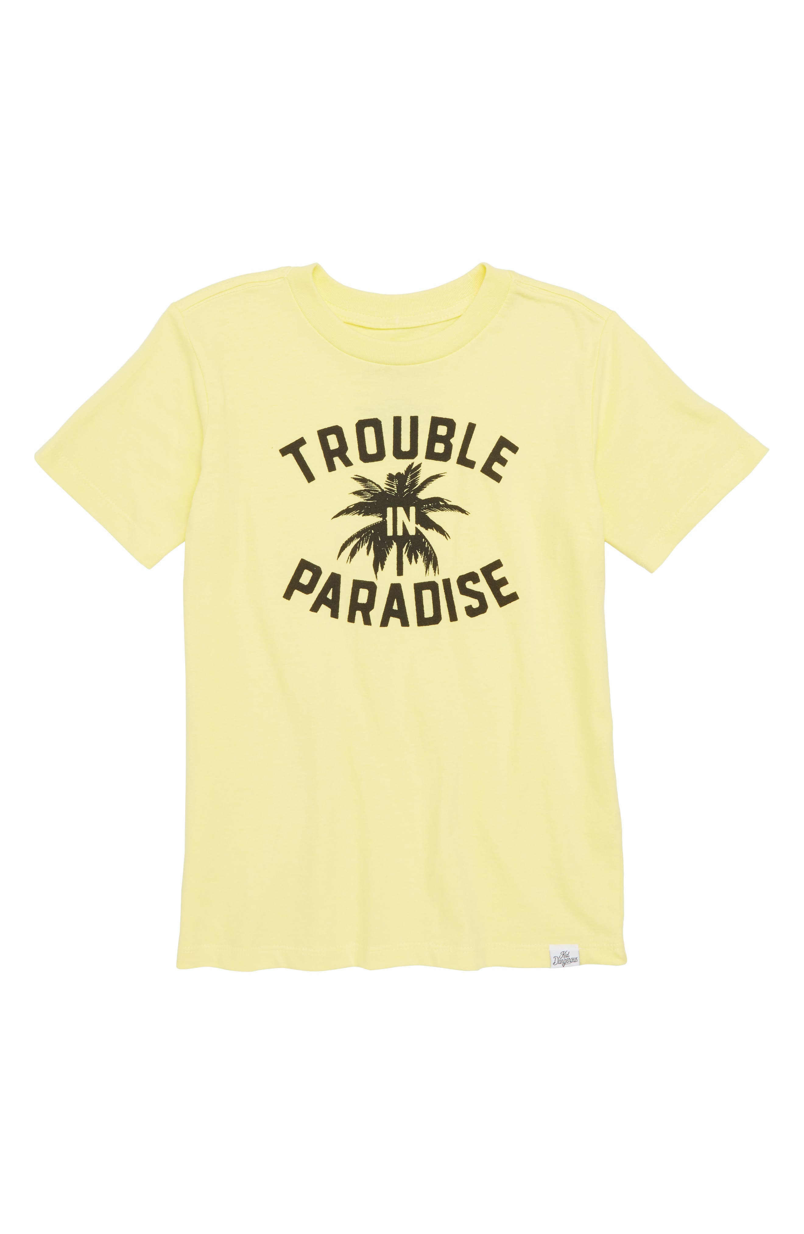 Trouble in Paradise Graphic T-Shirt,                             Main thumbnail 1, color,                             Light Yellow