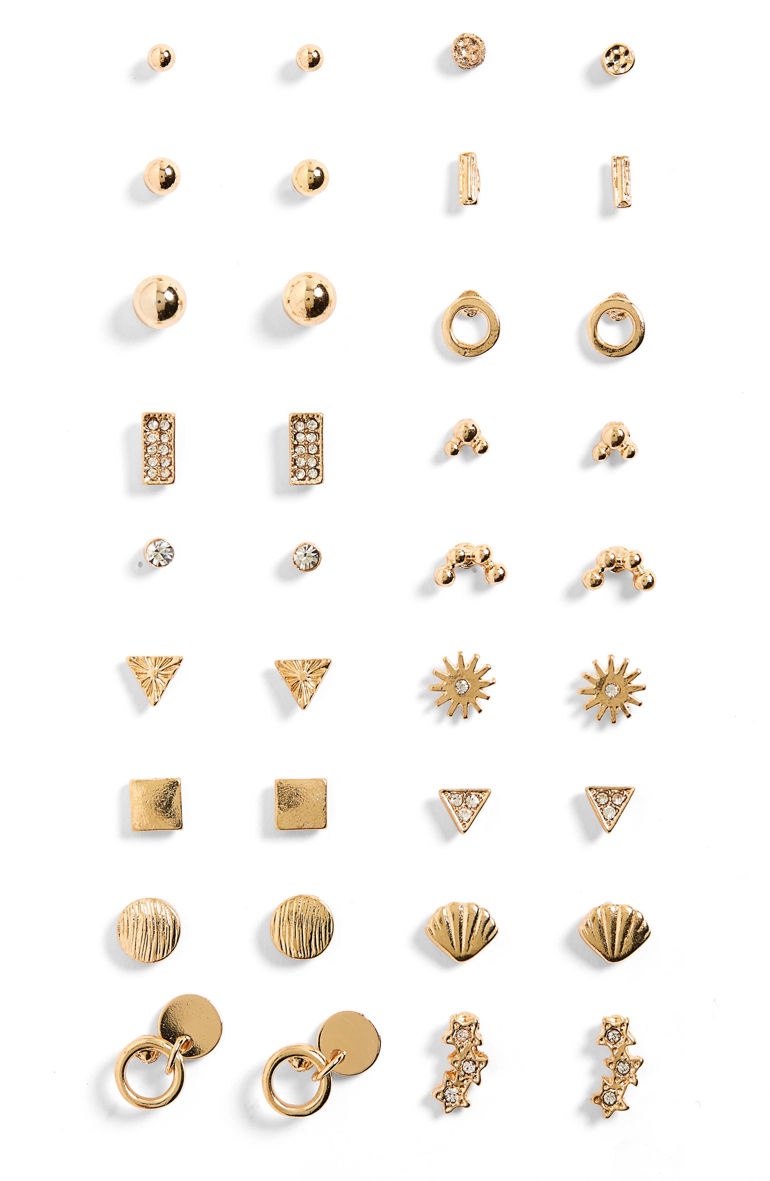 18-Pack Stud Earrings,                             Main thumbnail 1, color,                             Gold/ Crystal