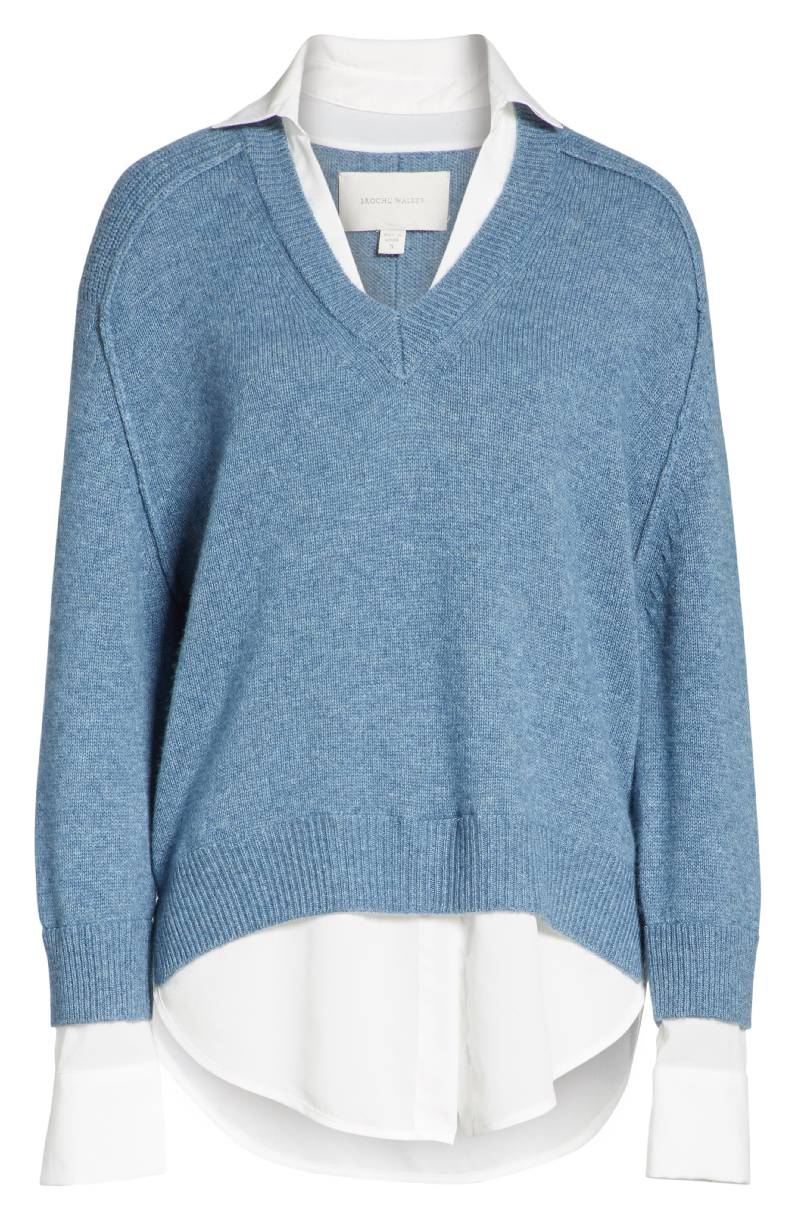 V-Neck Layered Pullover,                             Main thumbnail 1, color,                             Jean