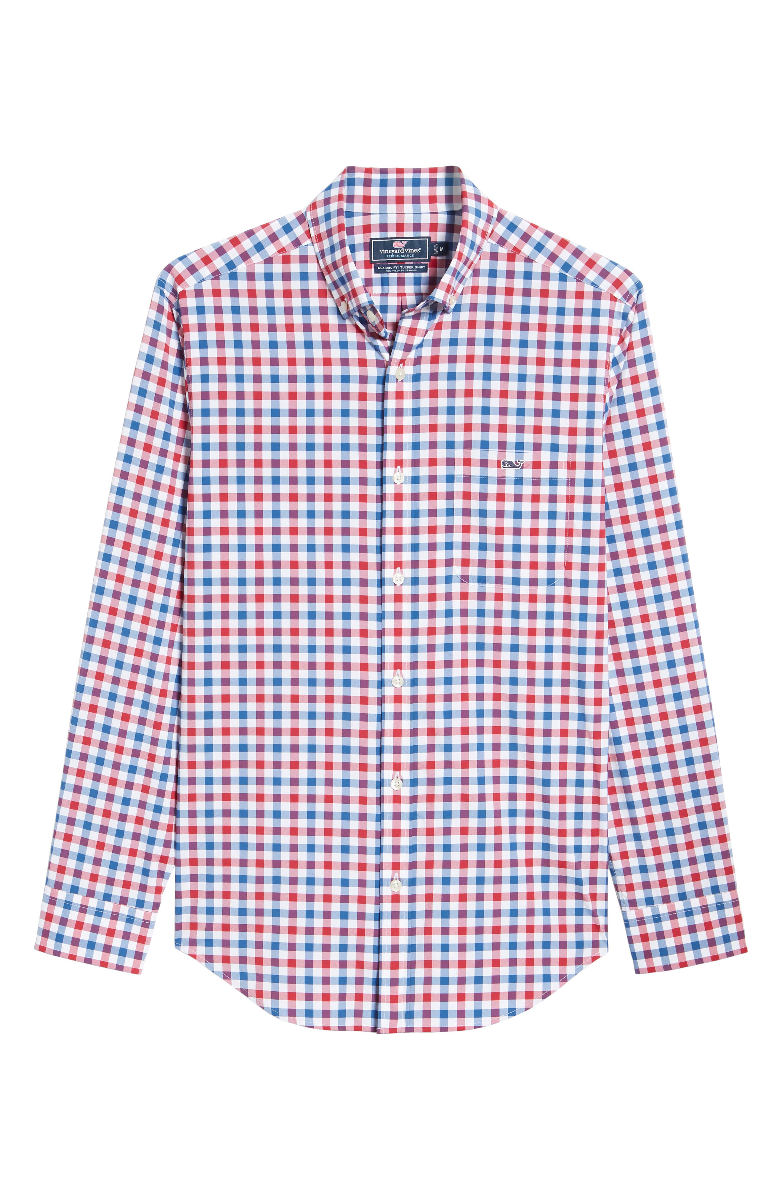 Gull Island Classic Fit Gingham Sport Shirt,                             Alternate thumbnail 6, color,                             Captains Blue