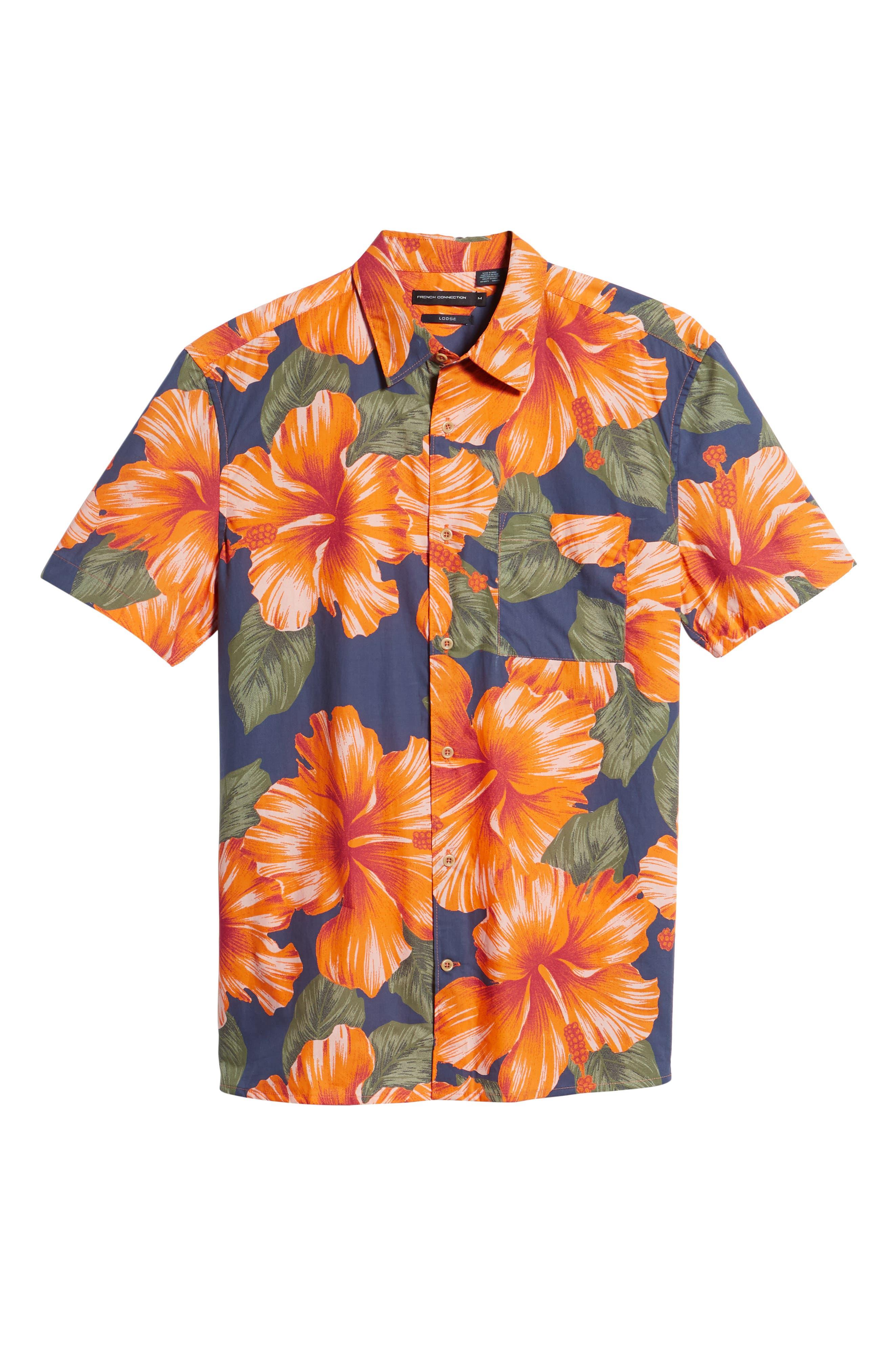 Wela Regular Fit Hawaiian Camp Shirt,                             Alternate thumbnail 6, color,                             Deep Cobalt