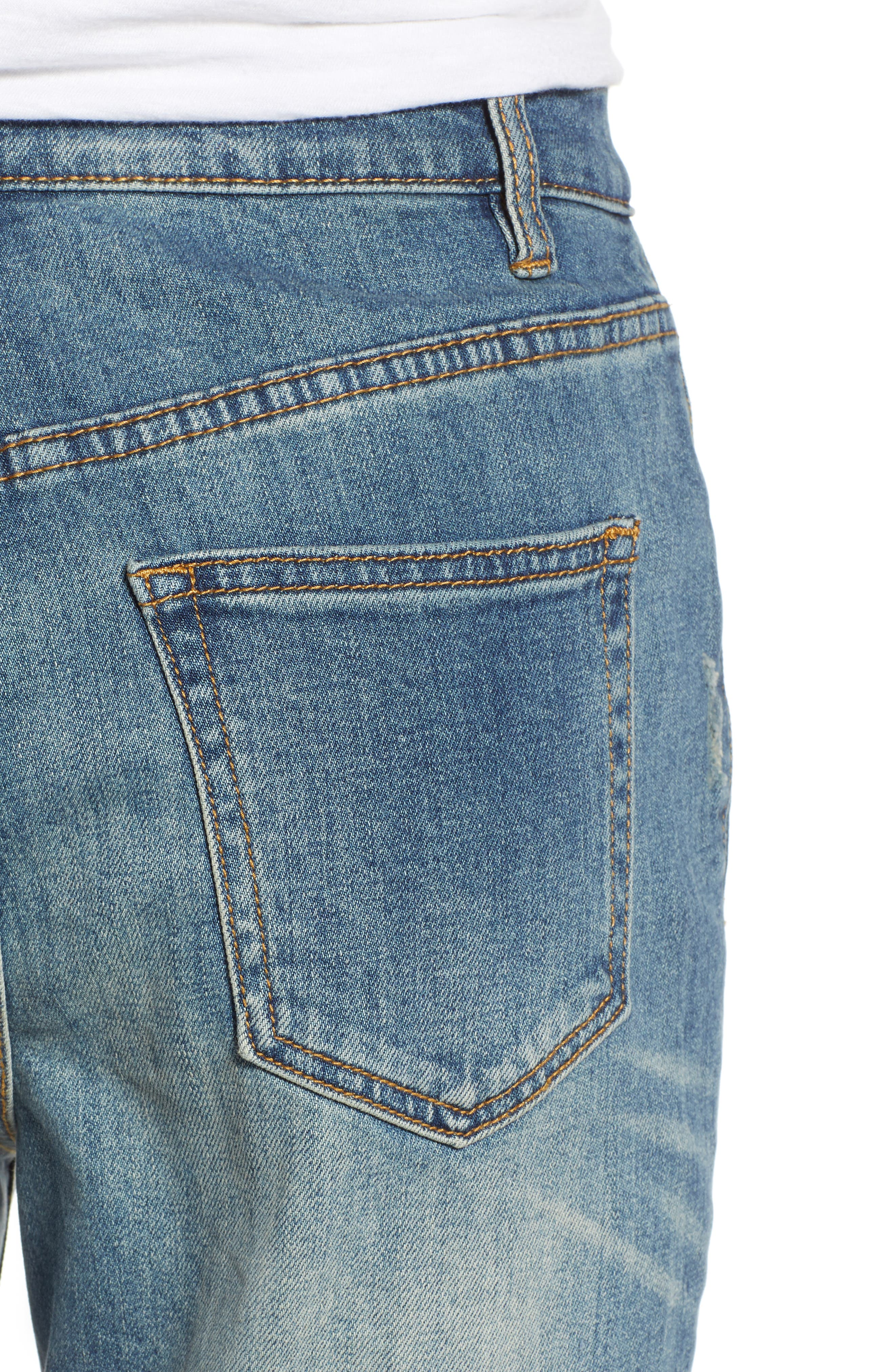 Billie Distressed Relaxed Jeans,                             Alternate thumbnail 4, color,                             Cameo