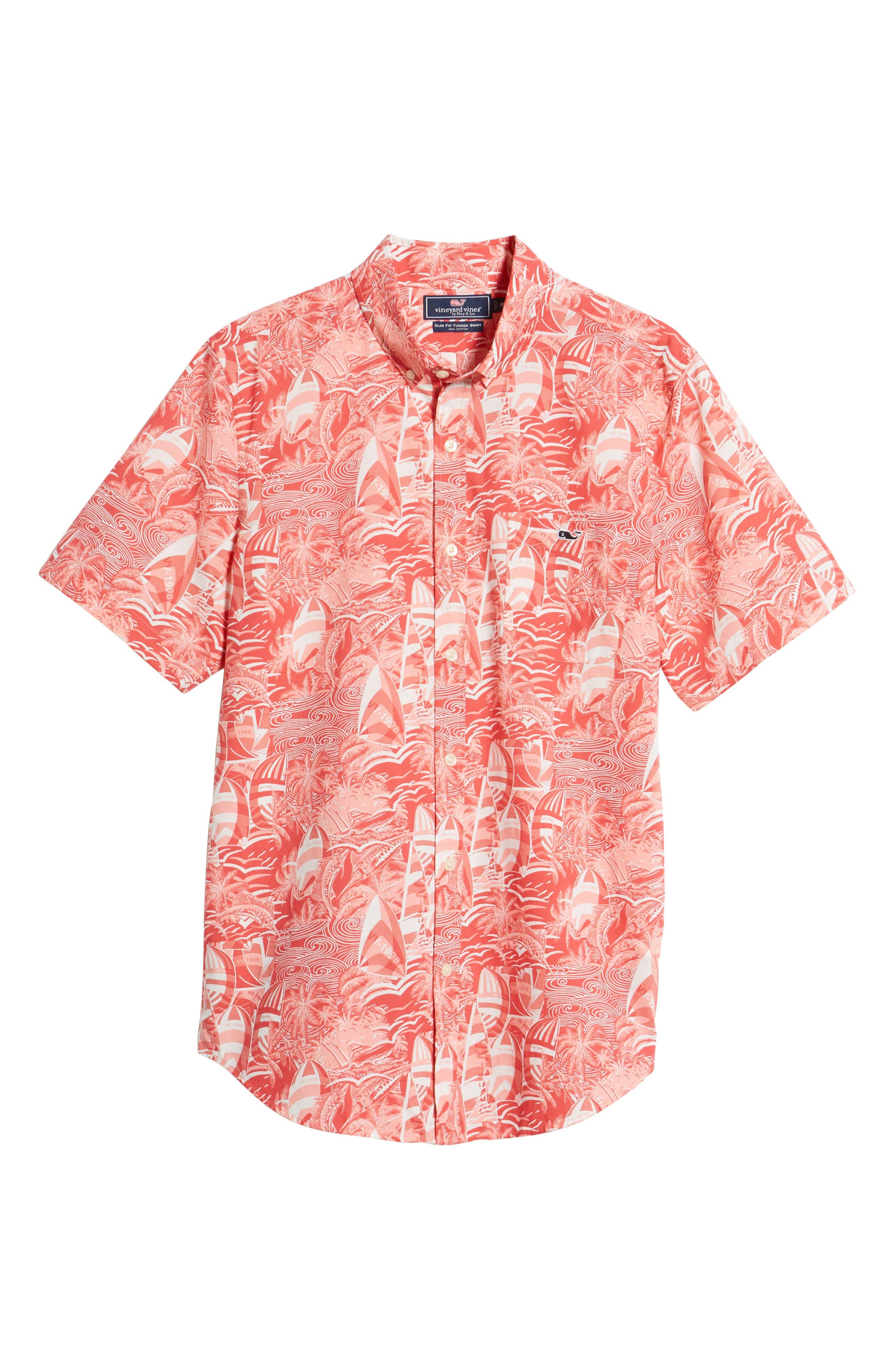 At Sea Tucker Slim Fit Sport Shirt,                             Alternate thumbnail 6, color,                             Sailors Red